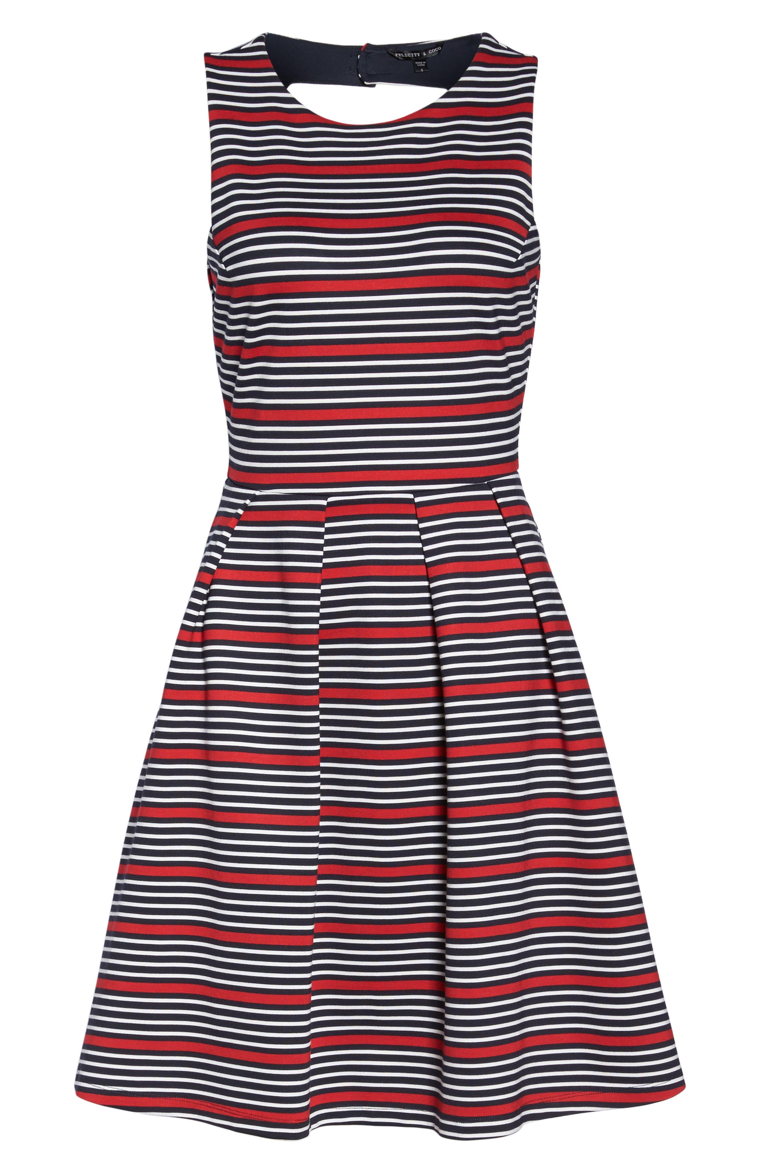 Scarlette Stripe Fit & Flare Dress,                             Alternate thumbnail 6, color,                             Navy/ Red/ White Stripe