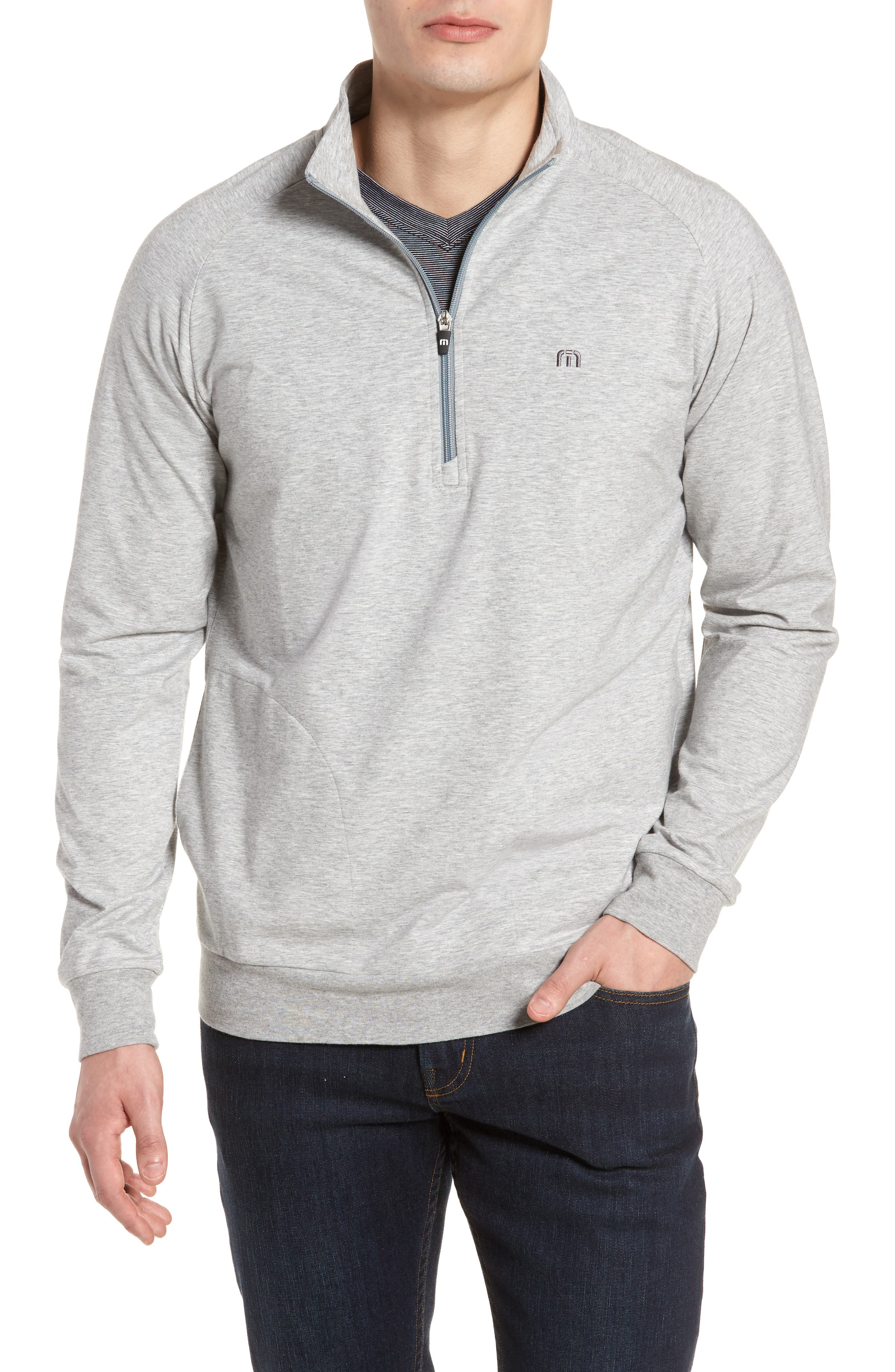 'Strange Love' Trim Fit Wrinkle Resistant Quarter Zip Jacket,                             Main thumbnail 1, color,                             Heather Alloy
