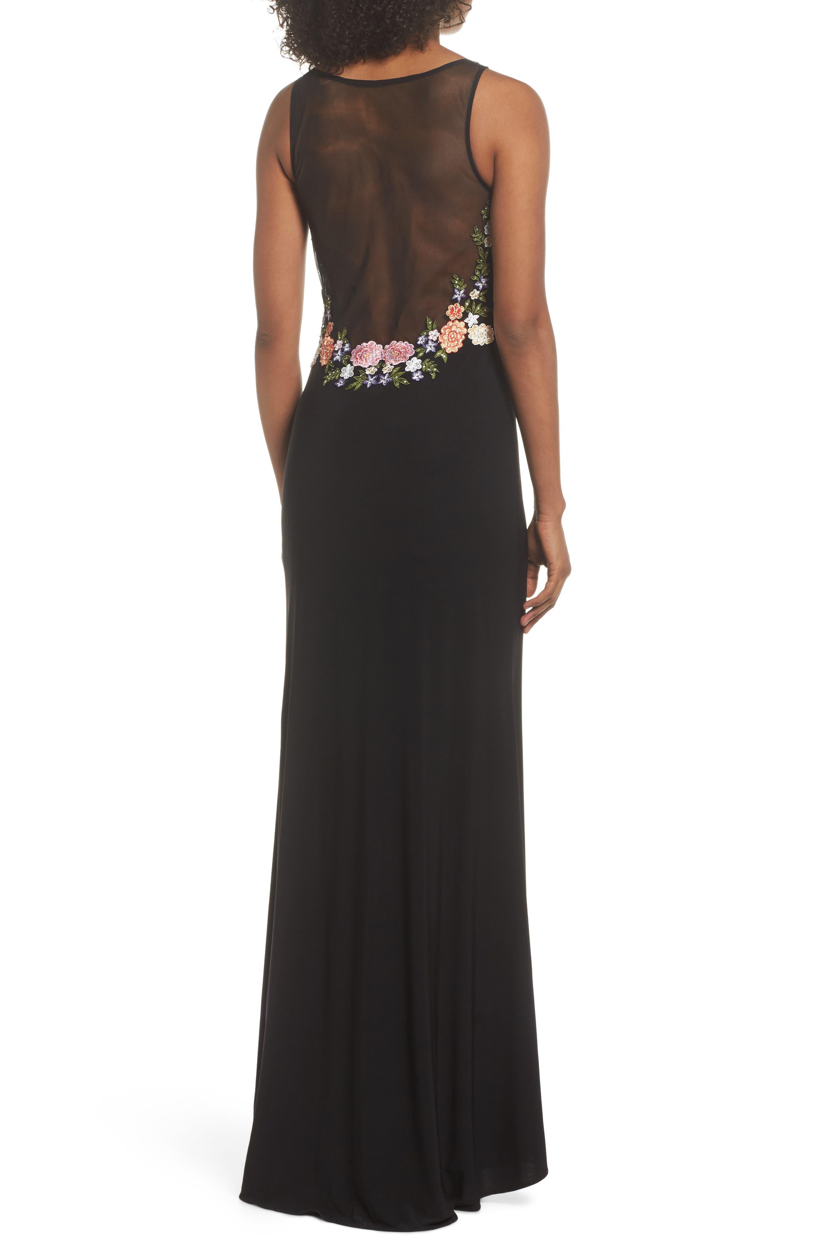 Embellished Sheer Back Knit Gown,                             Alternate thumbnail 2, color,                             Black/ Multi