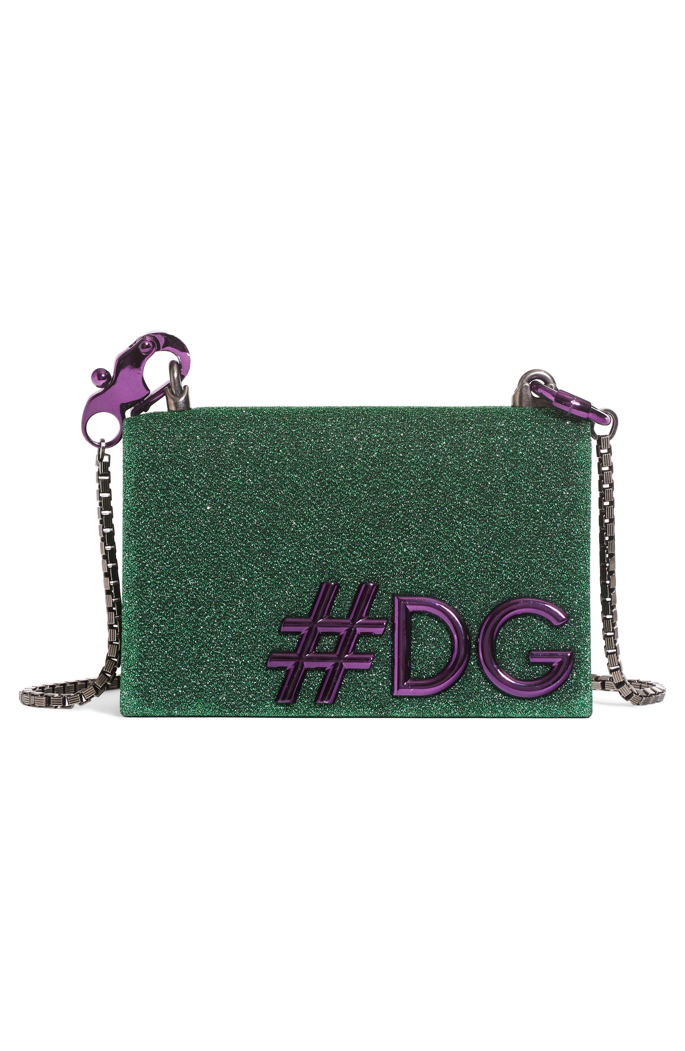 DG Girls Metallic Shoulder Bag,                             Alternate thumbnail 2, color,                             Green