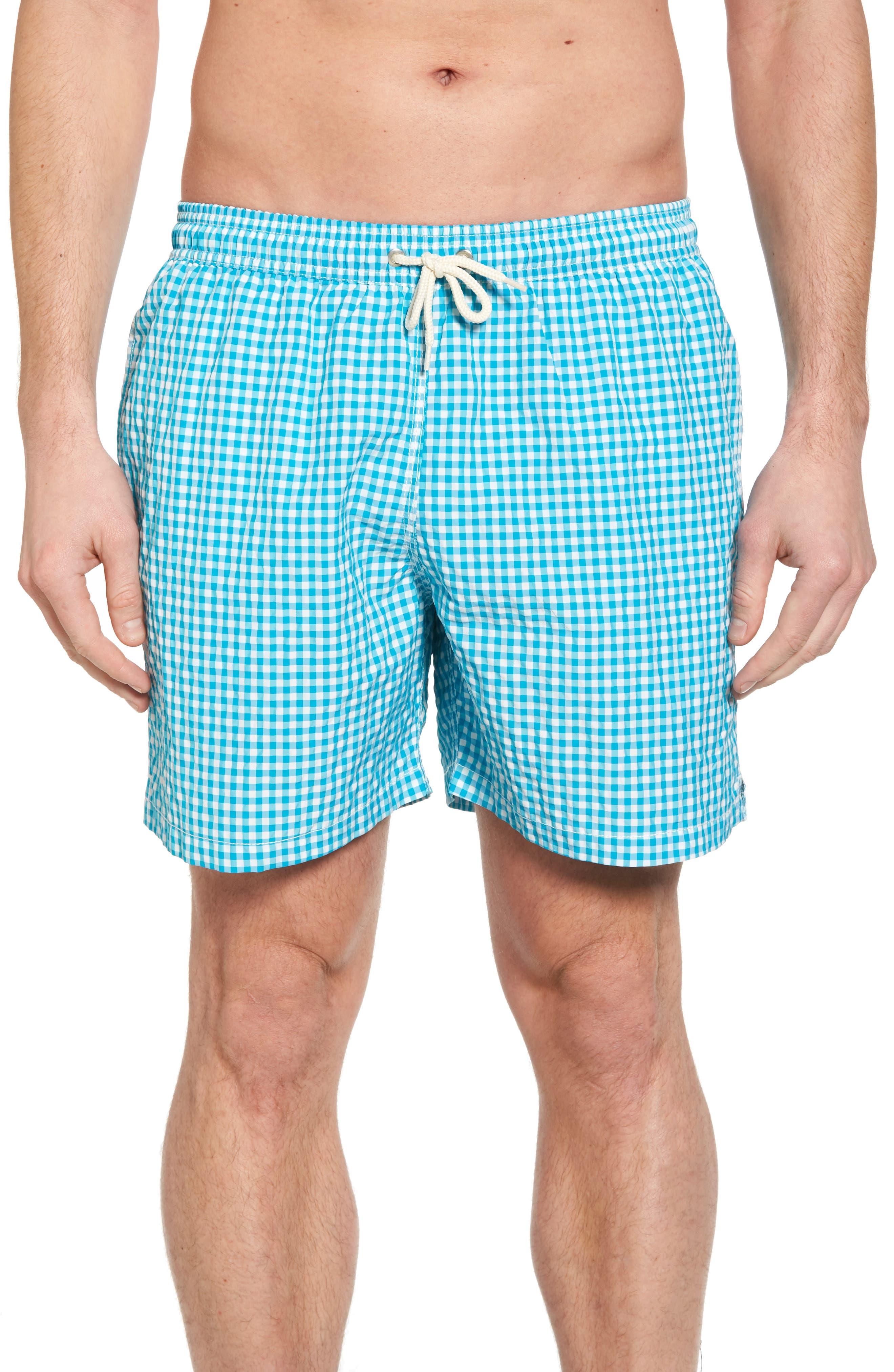 Gingham Check Swim Trunks,                         Main,                         color, Aqua