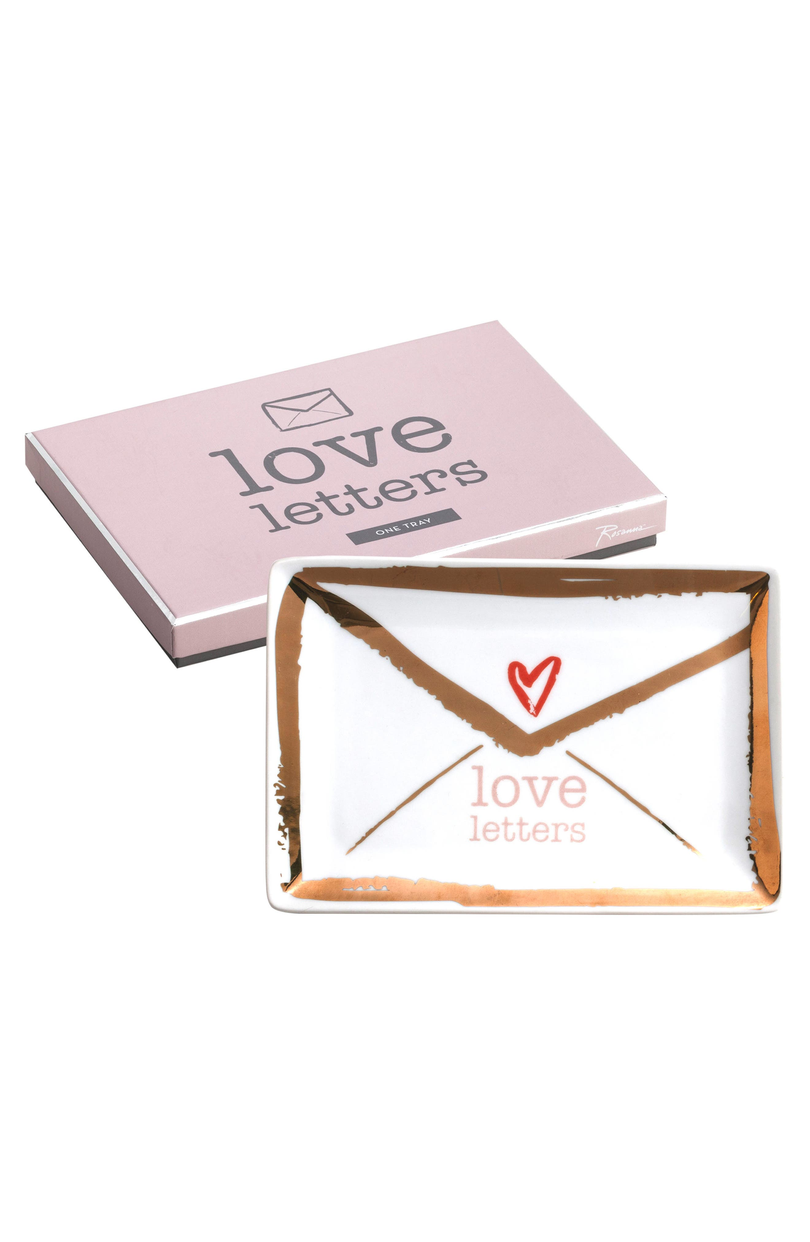 Love Letters Tray,                         Main,                         color, White And Gold