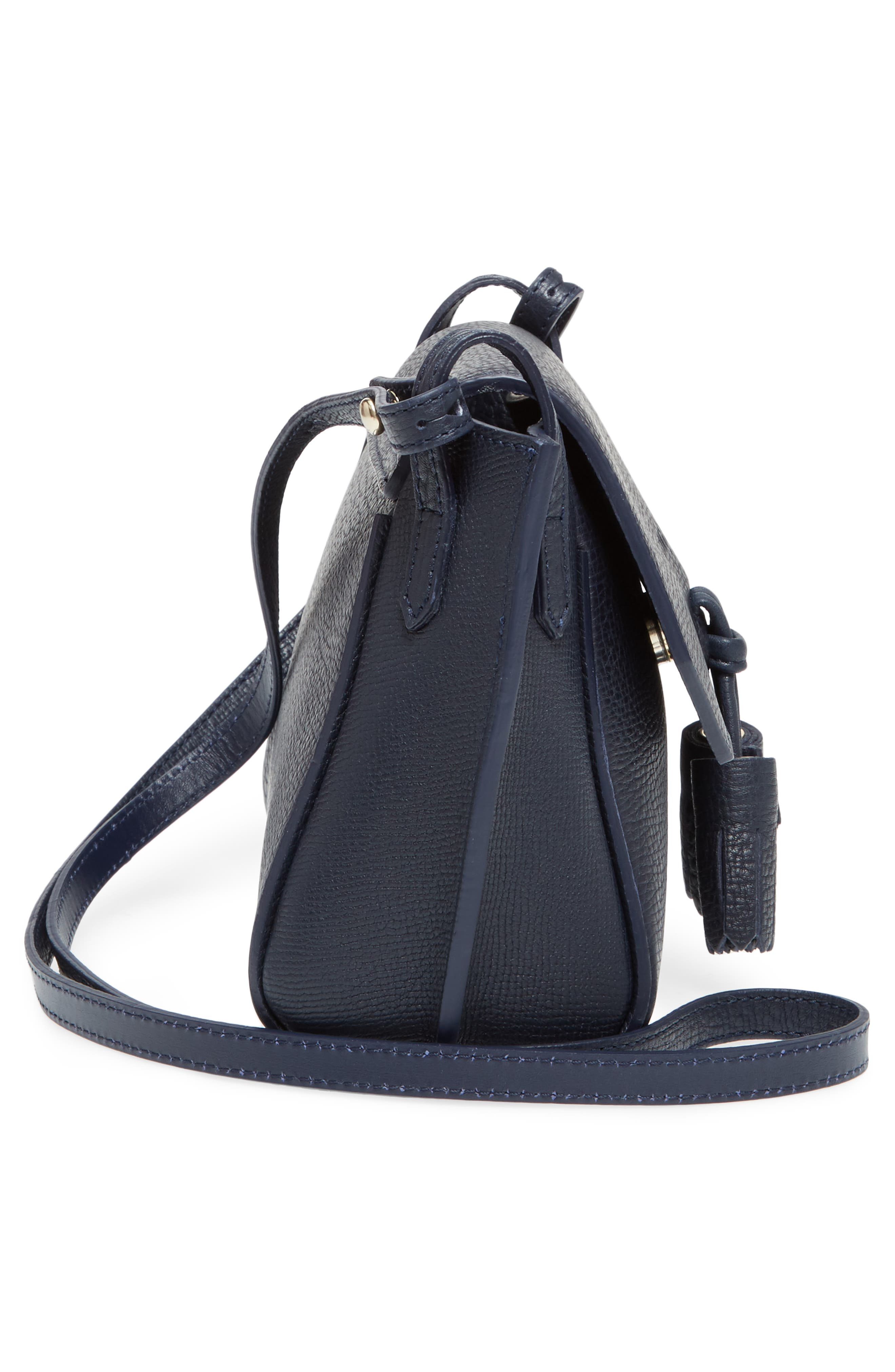 Penelope Leather Crossbody,                             Alternate thumbnail 5, color,                             Midnight