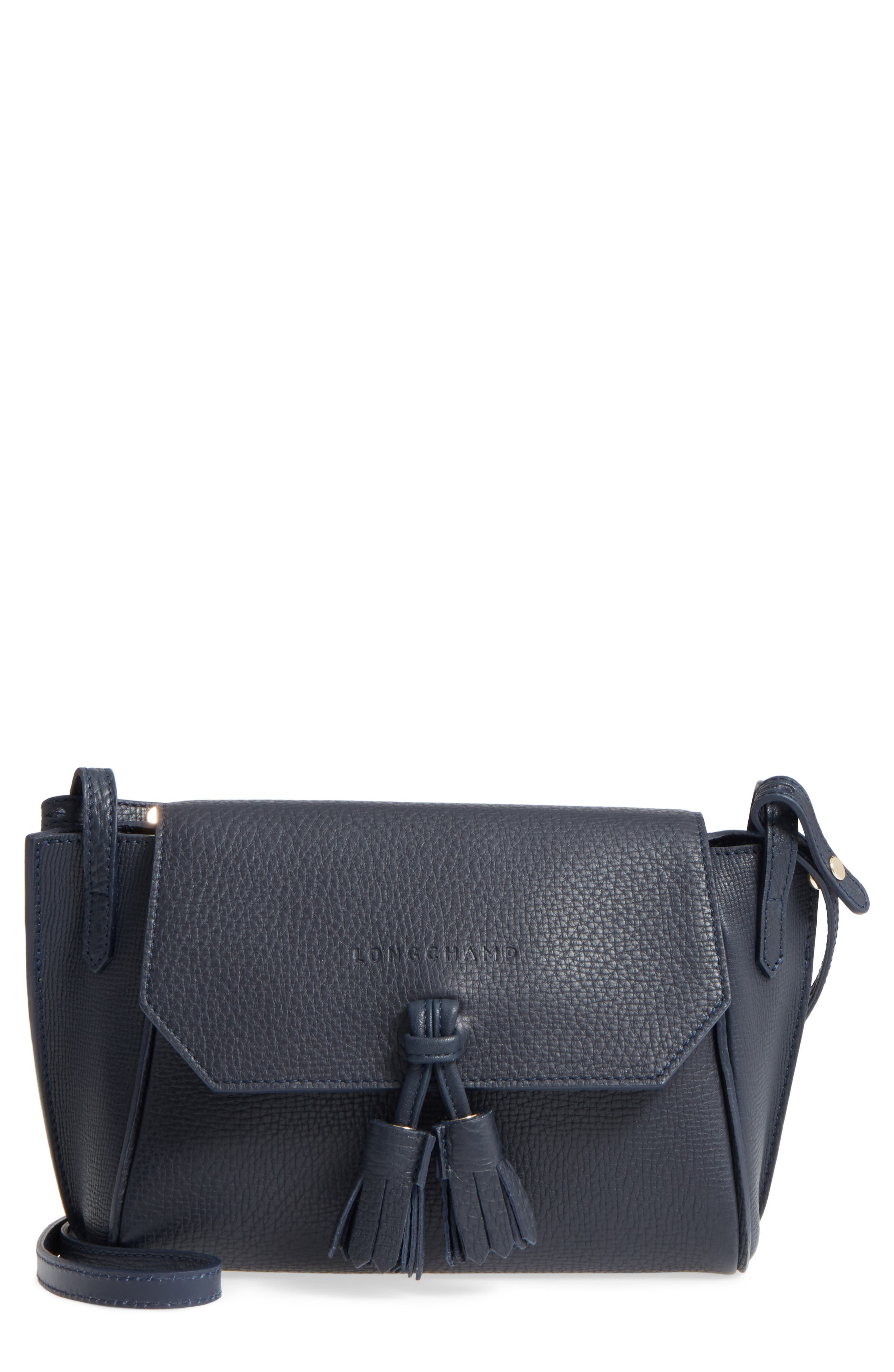 Penelope Leather Crossbody,                             Main thumbnail 1, color,                             Midnight