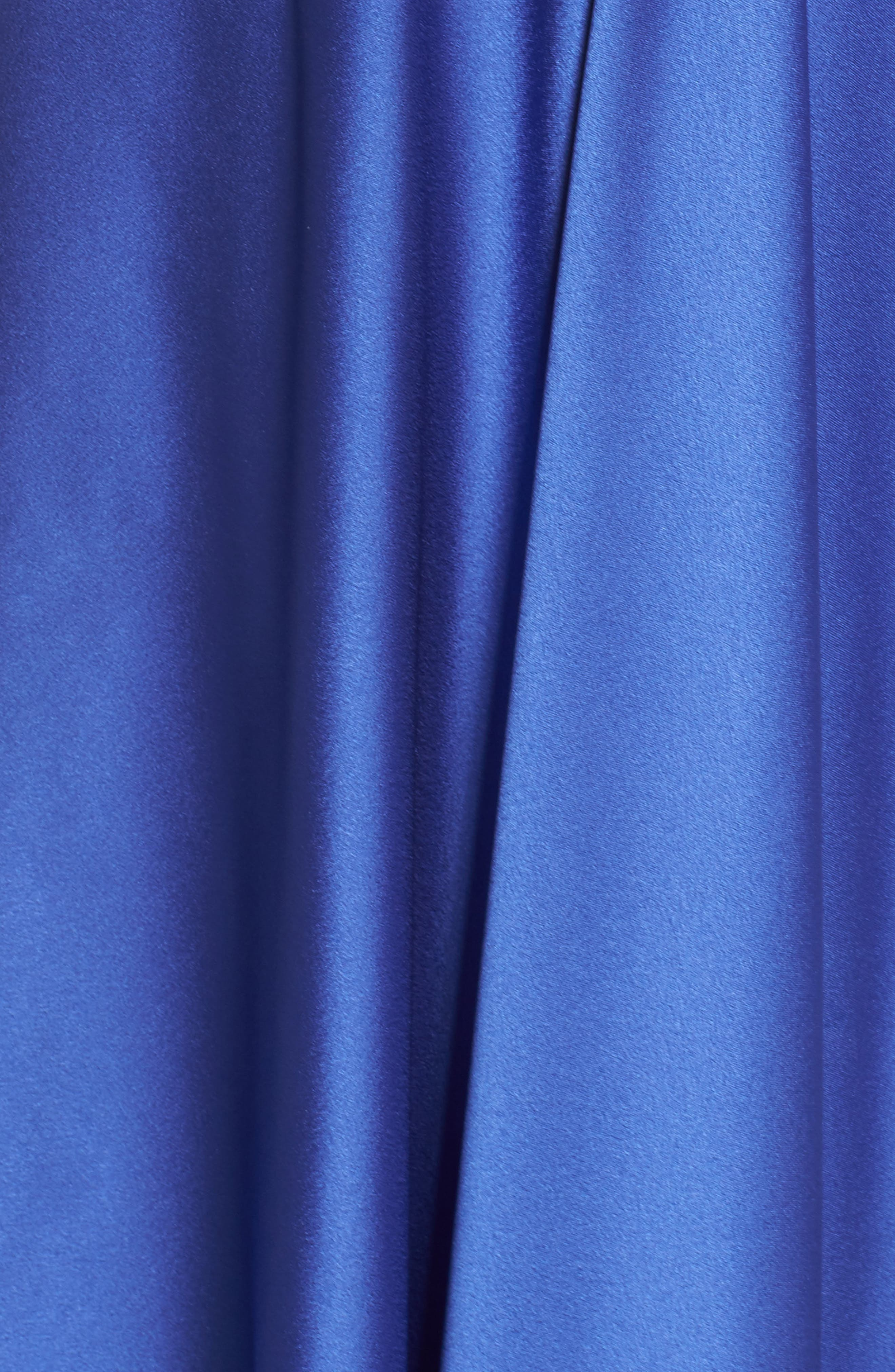 Embroidered Off the Shoulder Satin A-Line Gown,                             Alternate thumbnail 5, color,                             Dark Periwinkle
