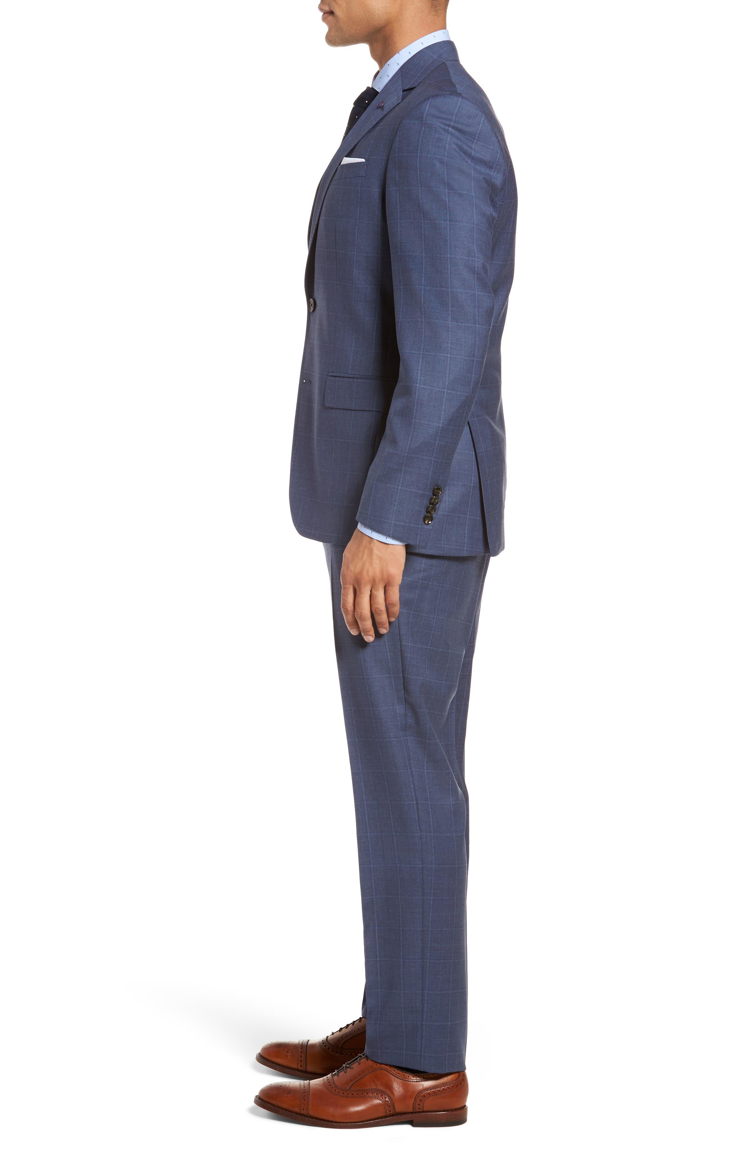 Jay Trim Fit Windowpane Wool Suit,                             Alternate thumbnail 3, color,                             Med Blue