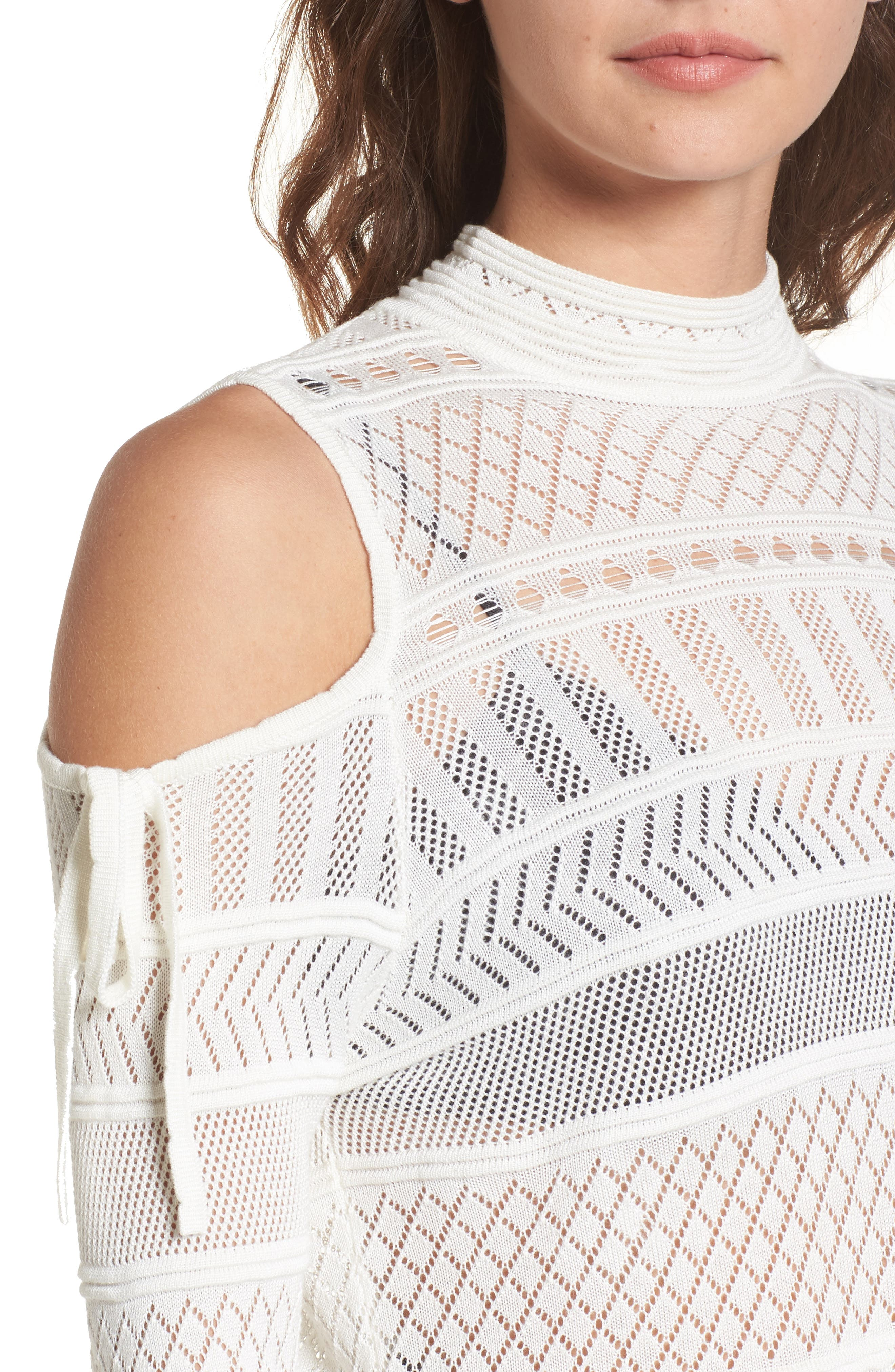 Annabel Cold Shoulder Pointelle Sweater,                             Alternate thumbnail 5, color,                             Ivory