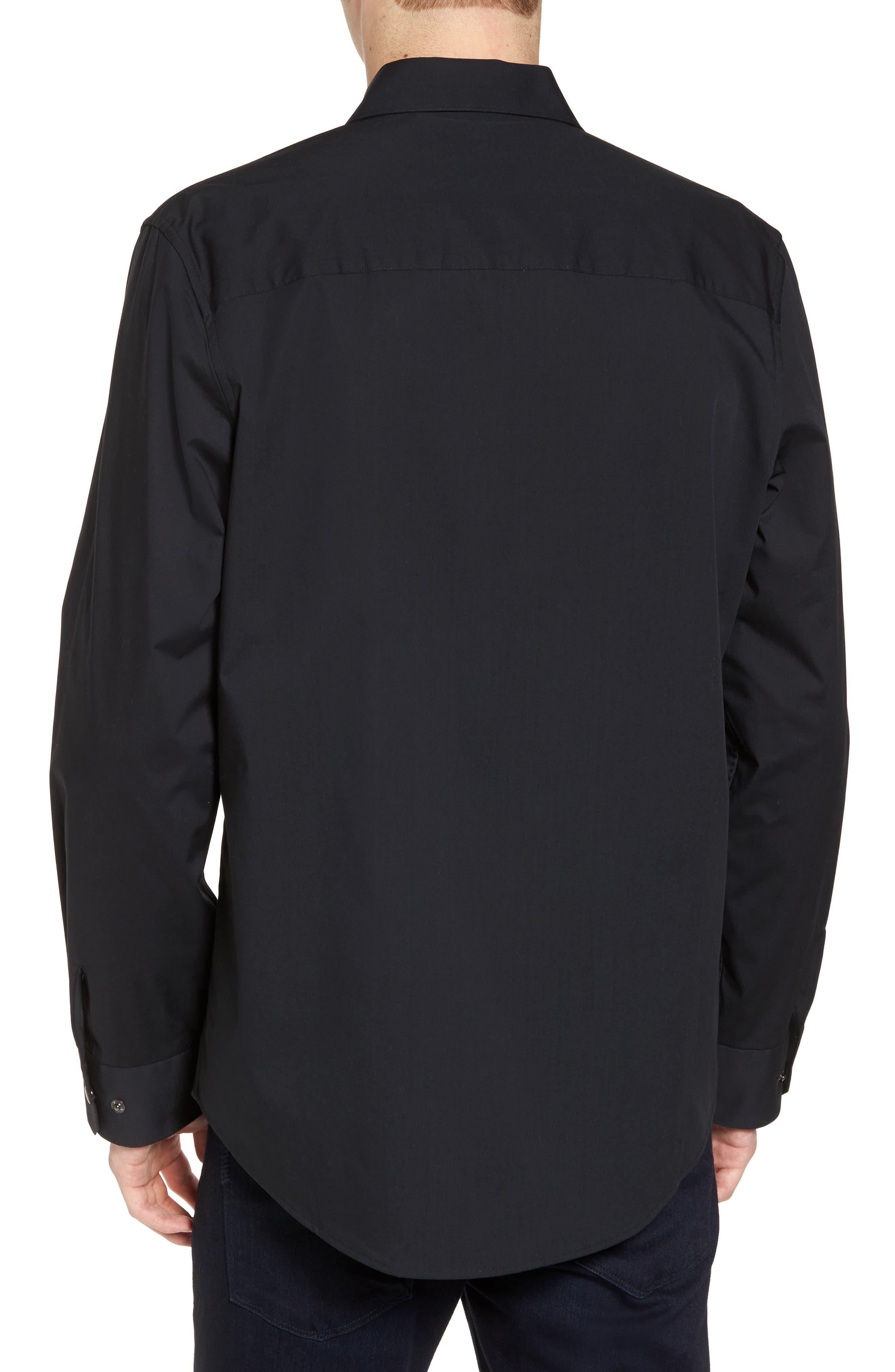 Zip Shirt Jacket,                             Alternate thumbnail 2, color,                             Black