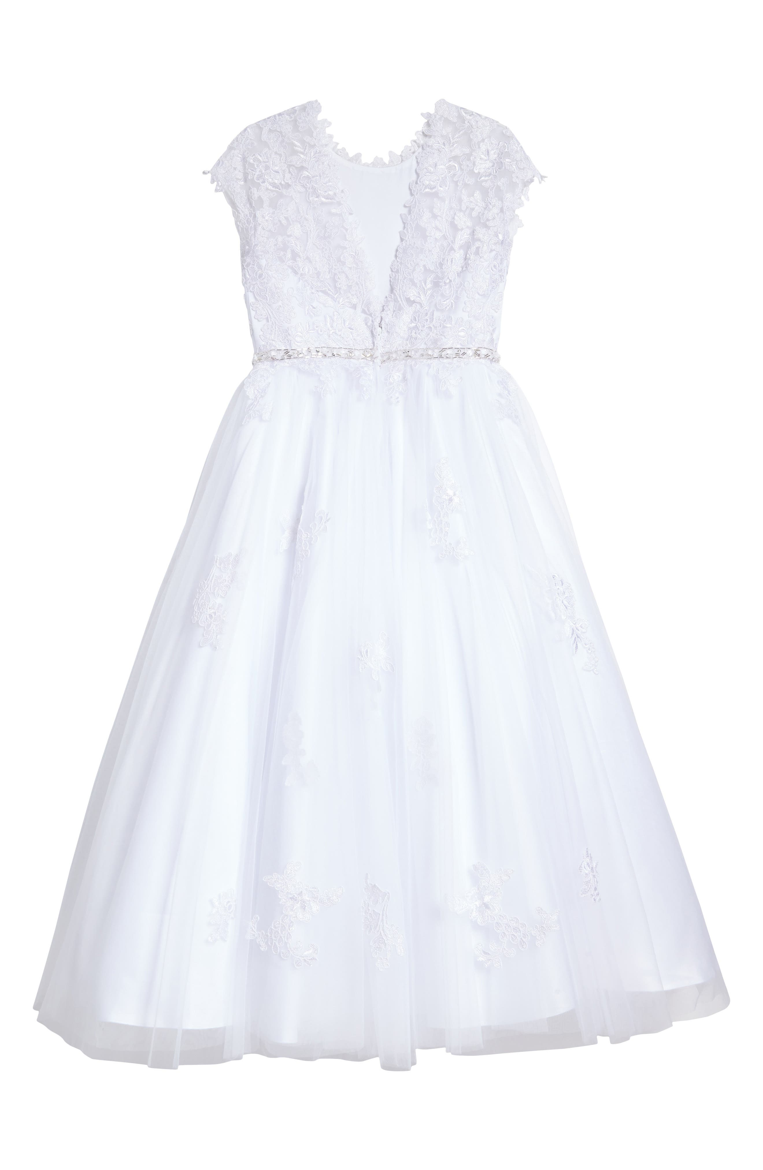 Lace Appliqué Tulle First Communion Dress,                             Alternate thumbnail 2, color,                             White