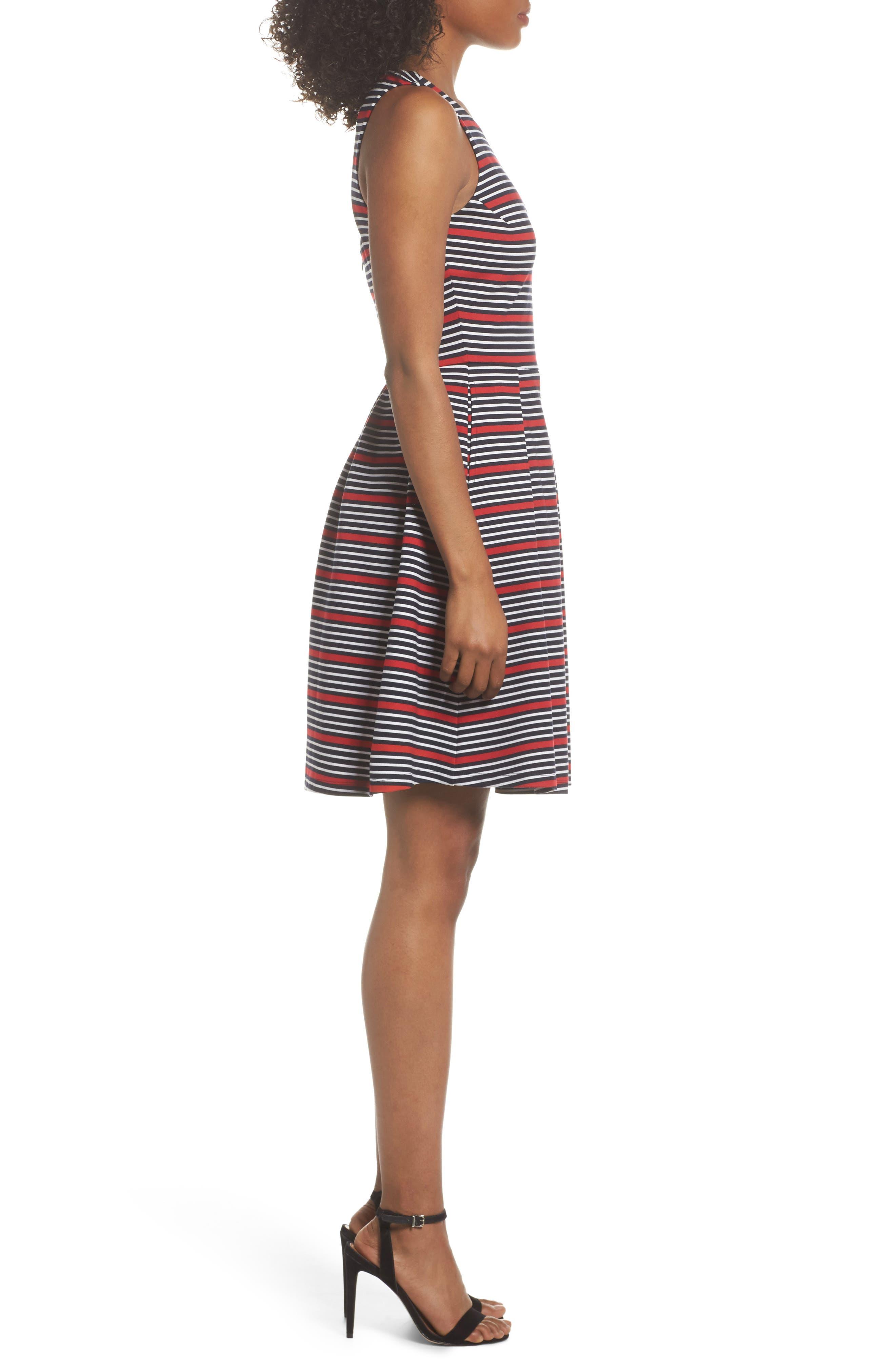Scarlette Stripe Fit & Flare Dress,                             Alternate thumbnail 3, color,                             Navy/ Red/ White Stripe