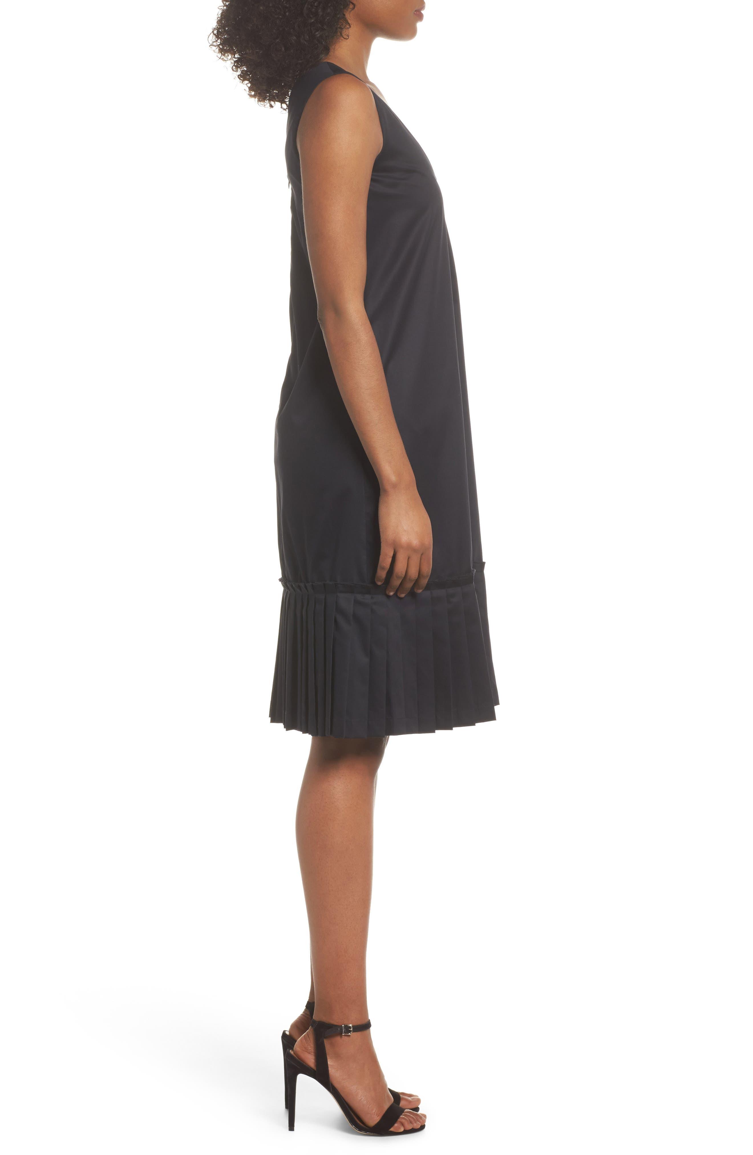 Pleat Hem Shift Dress,                             Alternate thumbnail 3, color,                             Black