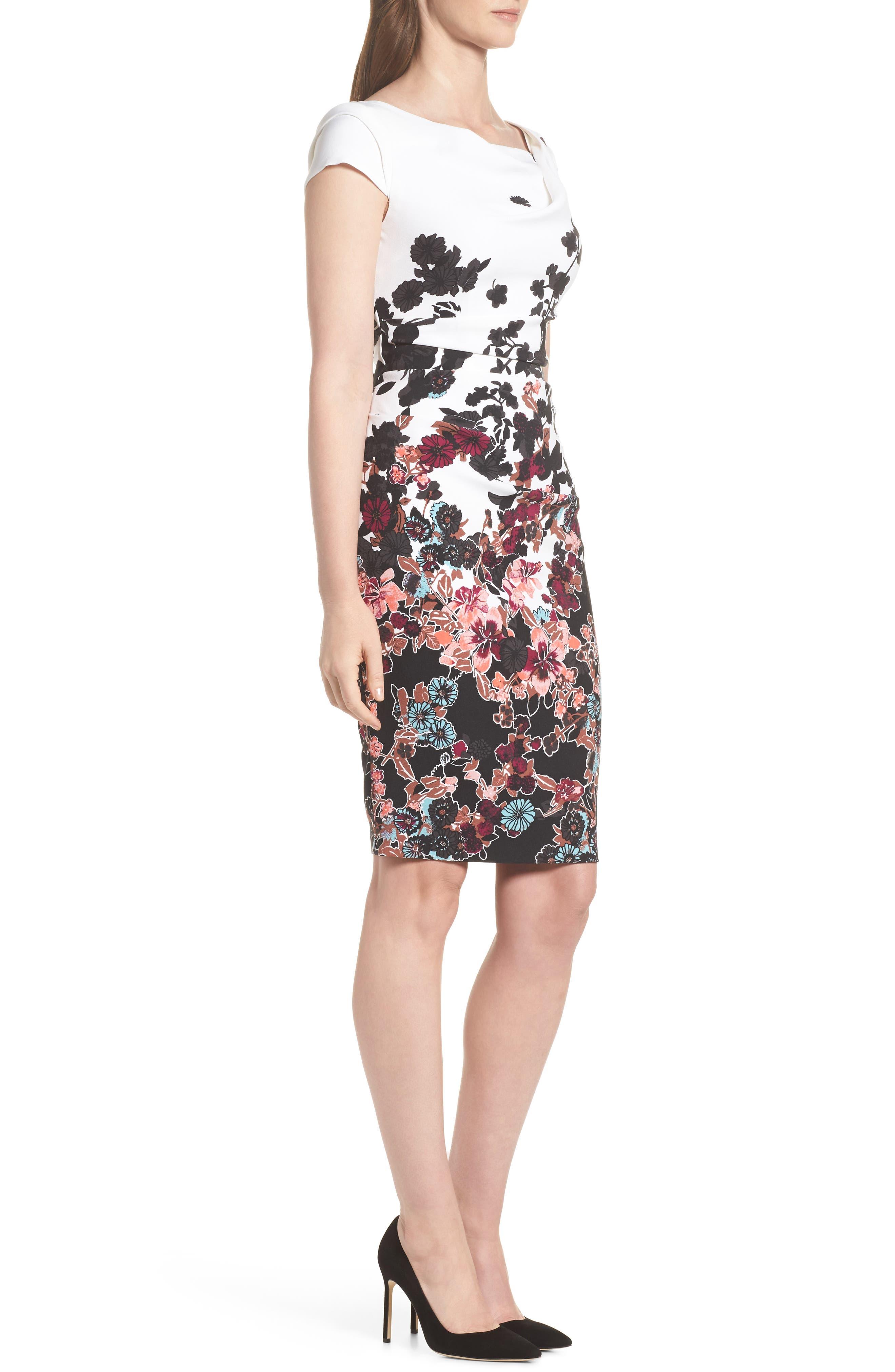 Floral Bliss Cowl Neck Sheath Dress,                             Alternate thumbnail 3, color,                             Ivory Multi