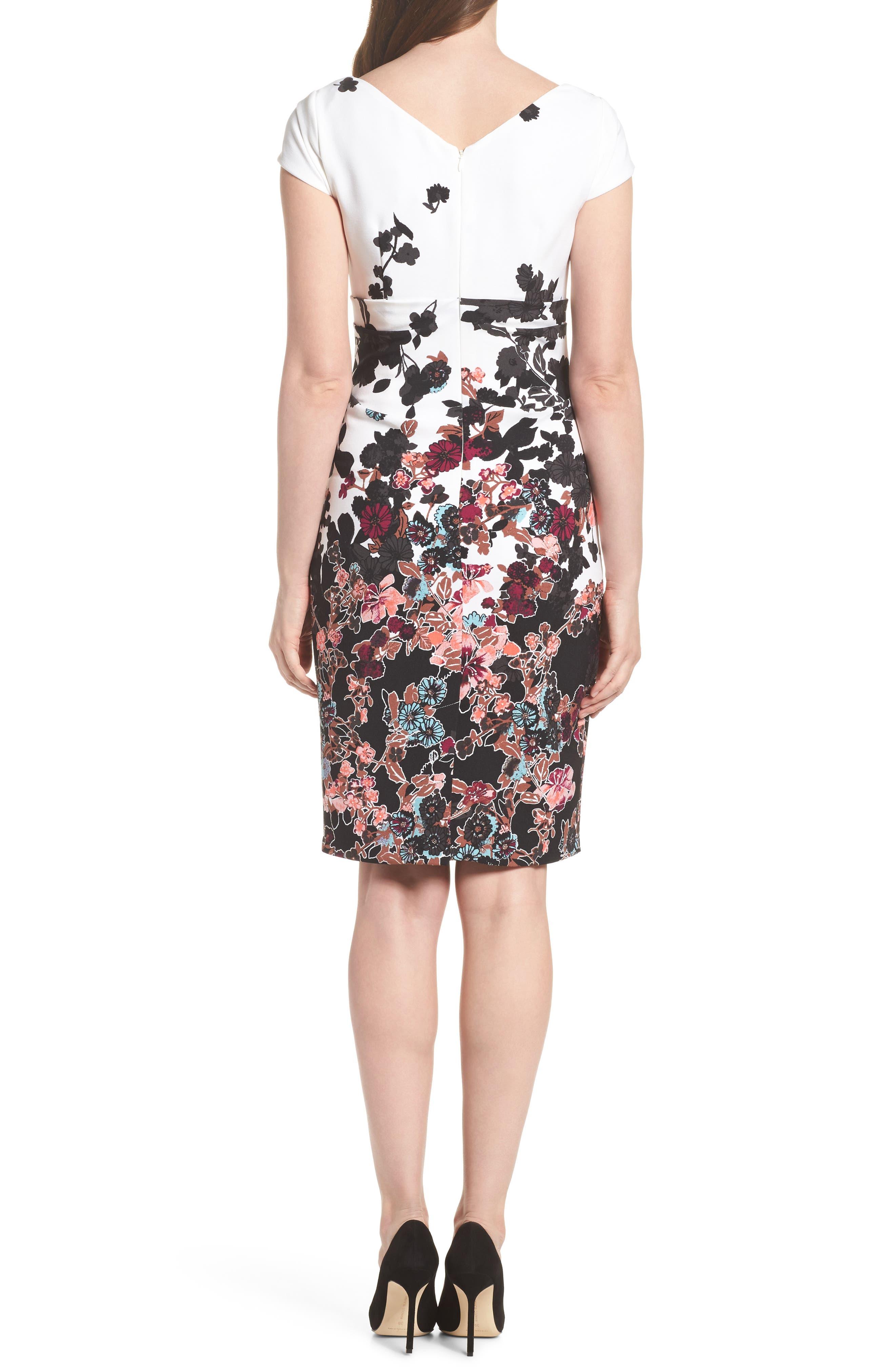 Floral Bliss Cowl Neck Sheath Dress,                             Alternate thumbnail 2, color,                             Ivory Multi