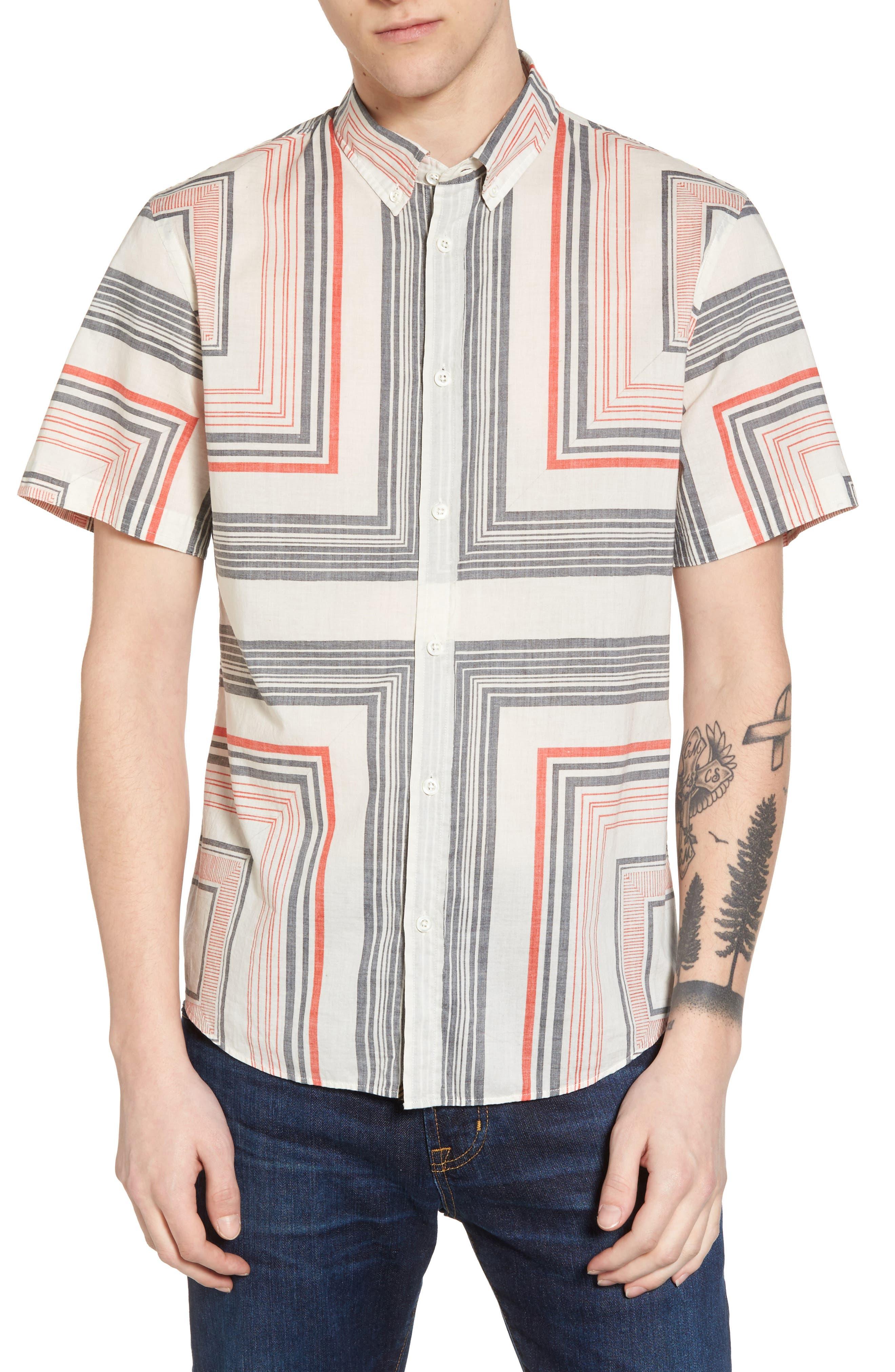 Murphy Stripe Print Sport Shirt,                         Main,                         color, Cream/ Red