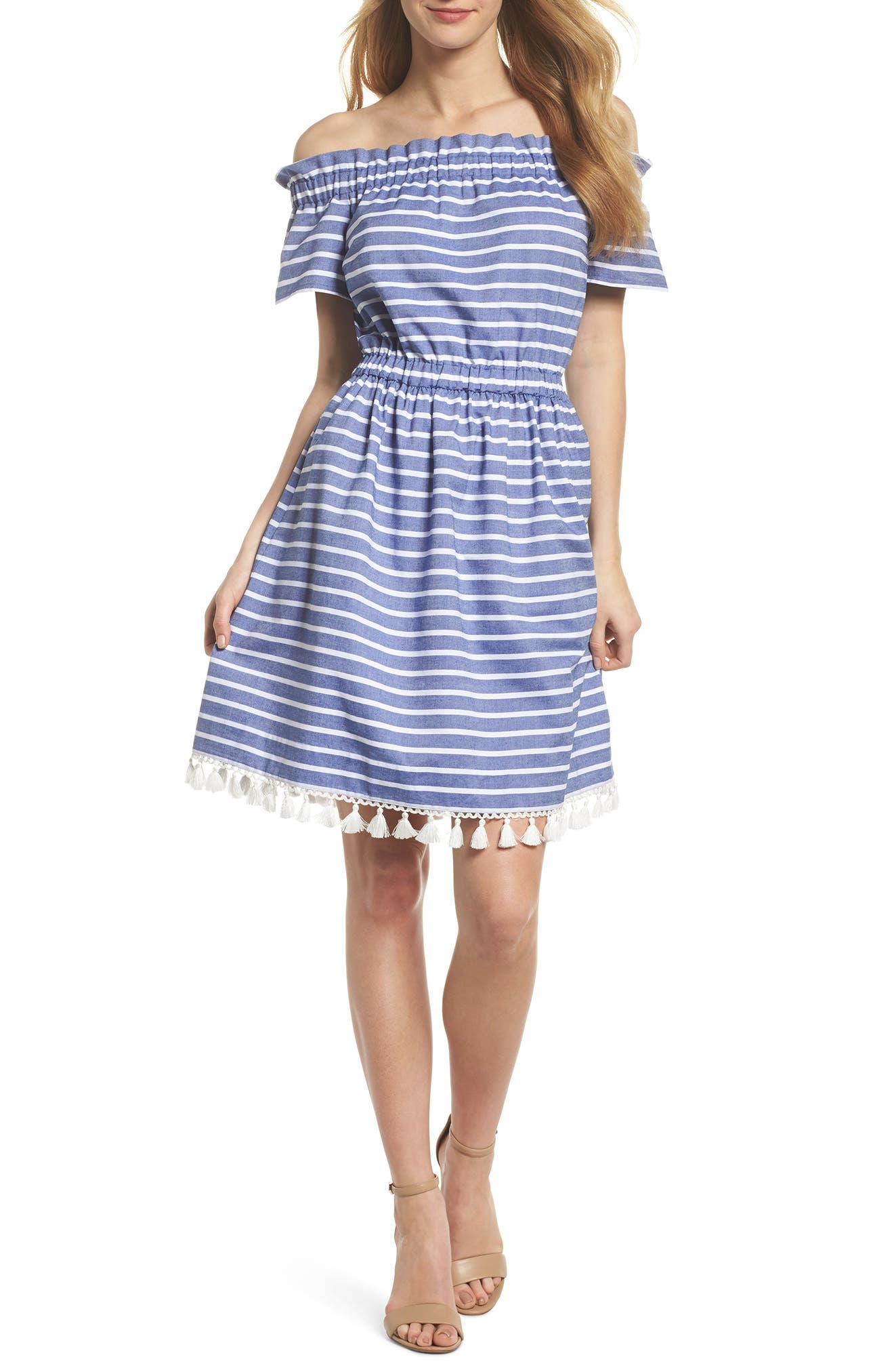 Stripe Off the Shoulder Dress,                             Main thumbnail 1, color,                             Navy/ Ivory