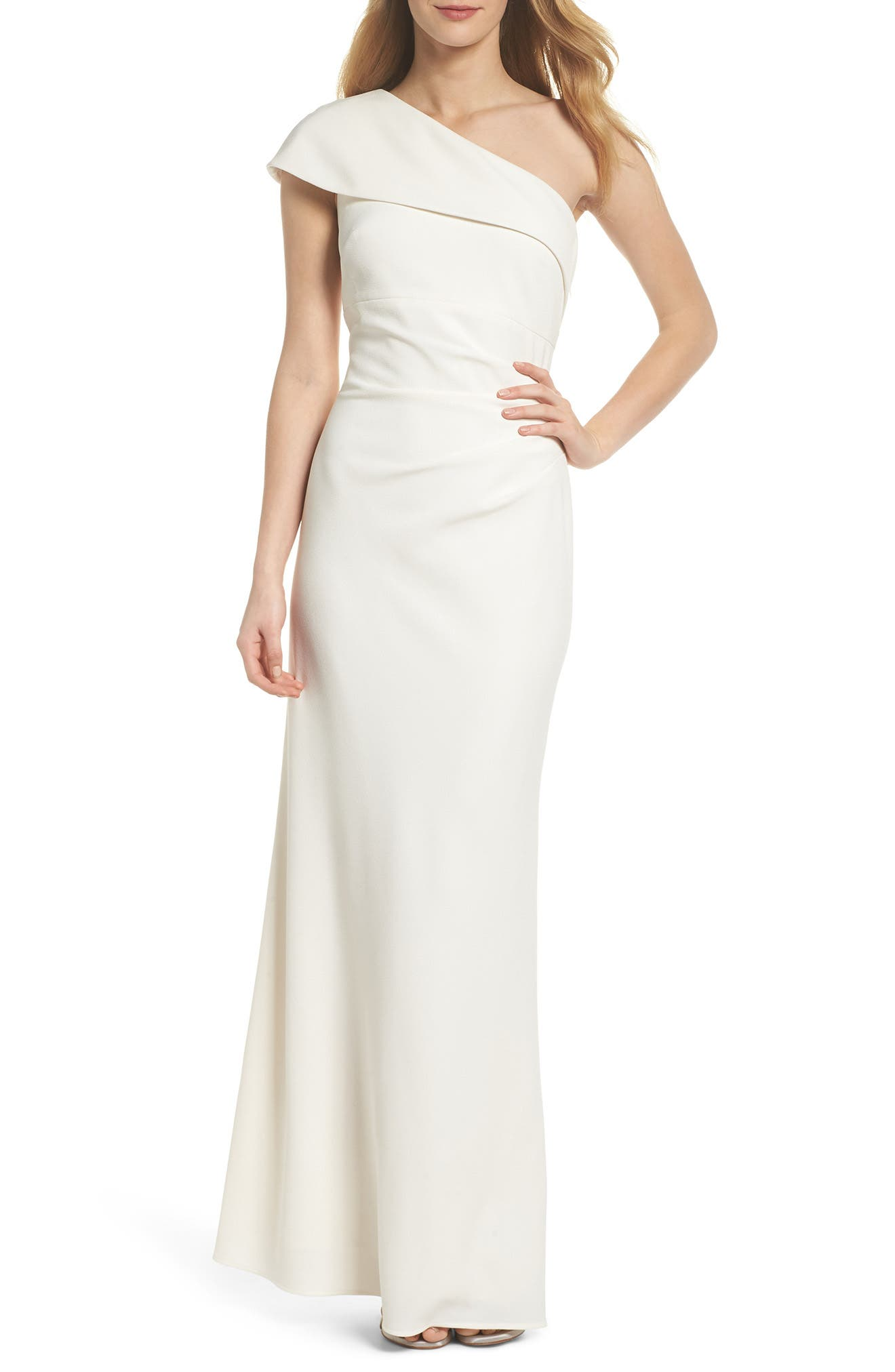 One-Shoulder Crepe Gown,                         Main,                         color, Ivory