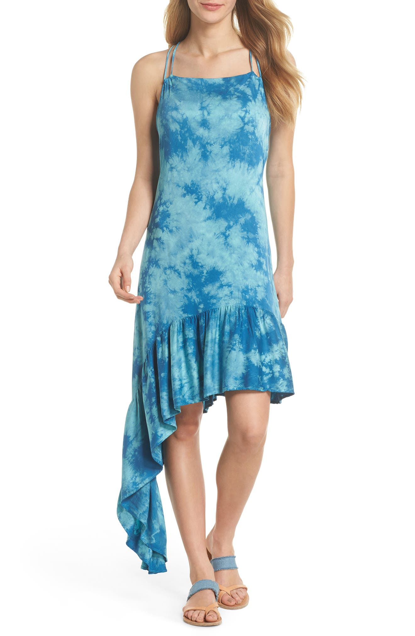 Crystal Forest Clementine Cover-Up Dress,                             Main thumbnail 1, color,                             Sky