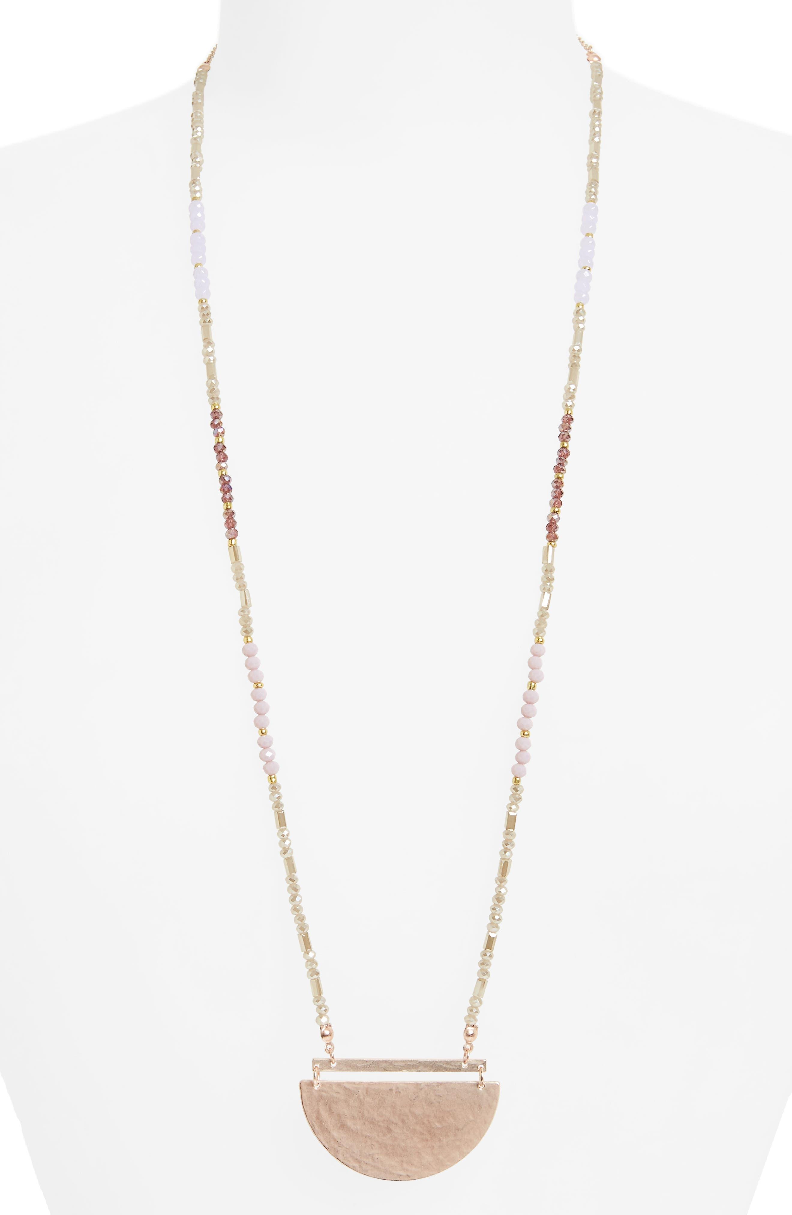 Canvas Half Moon Pendant Necklace