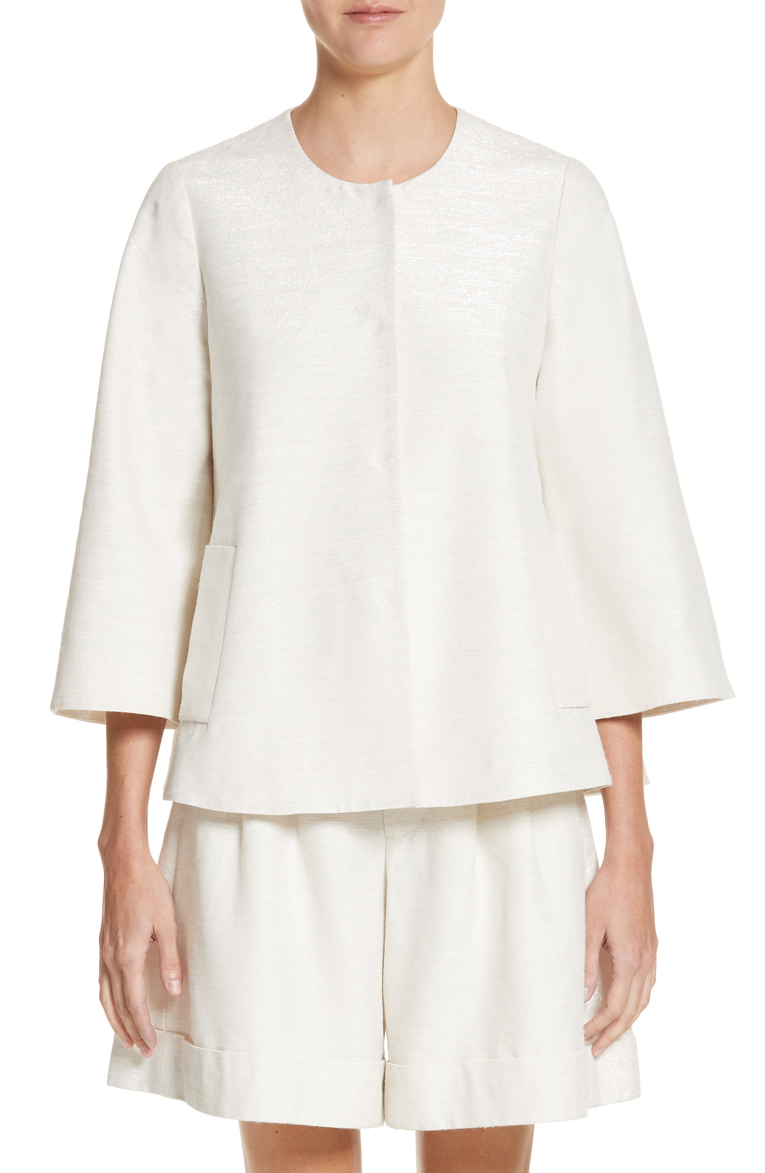 Sparkle Woven Swing Jacket,                         Main,                         color, Ivory
