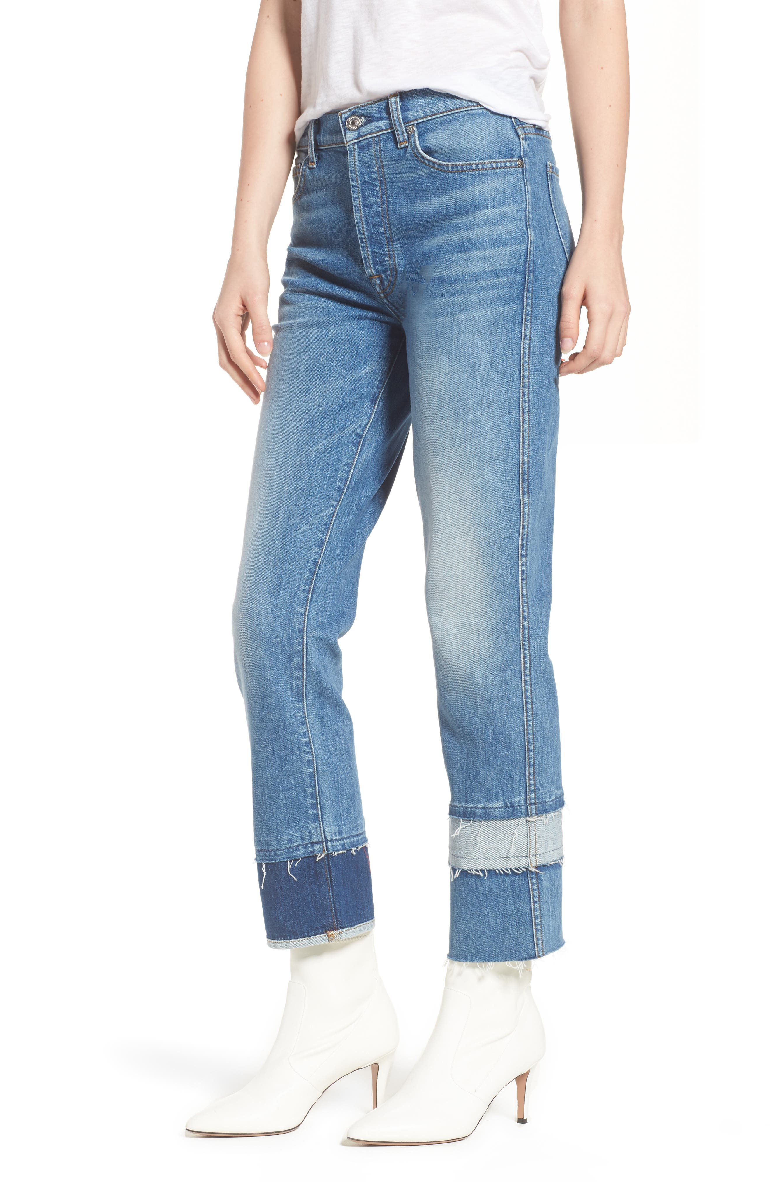 Edie Pieced Hem Cropped Jeans,                             Main thumbnail 1, color,                             Vintage Blue Dunes 2