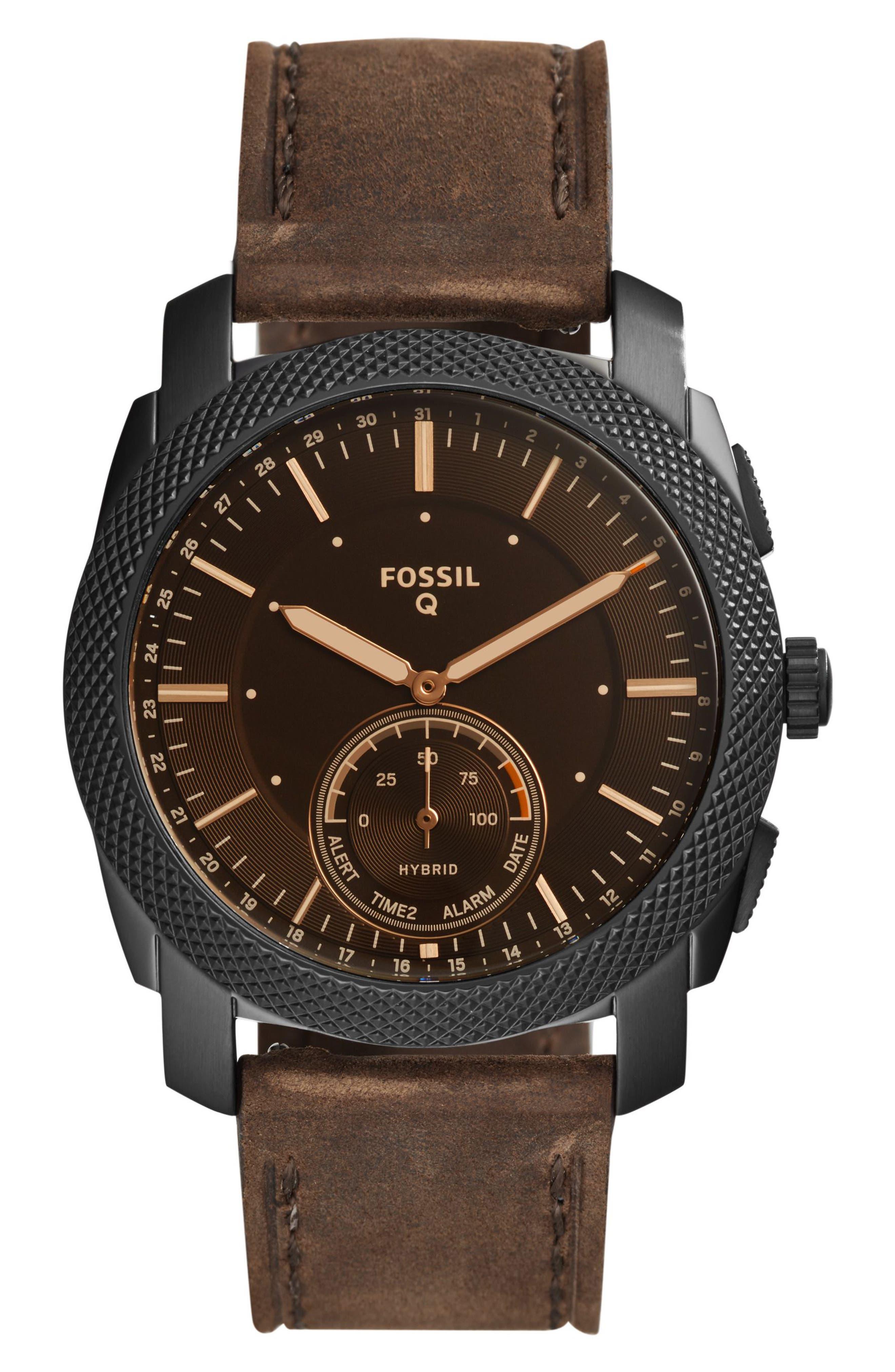 Fossil Q Machine Leather Strap Hybrid Smart Watch, 45mm