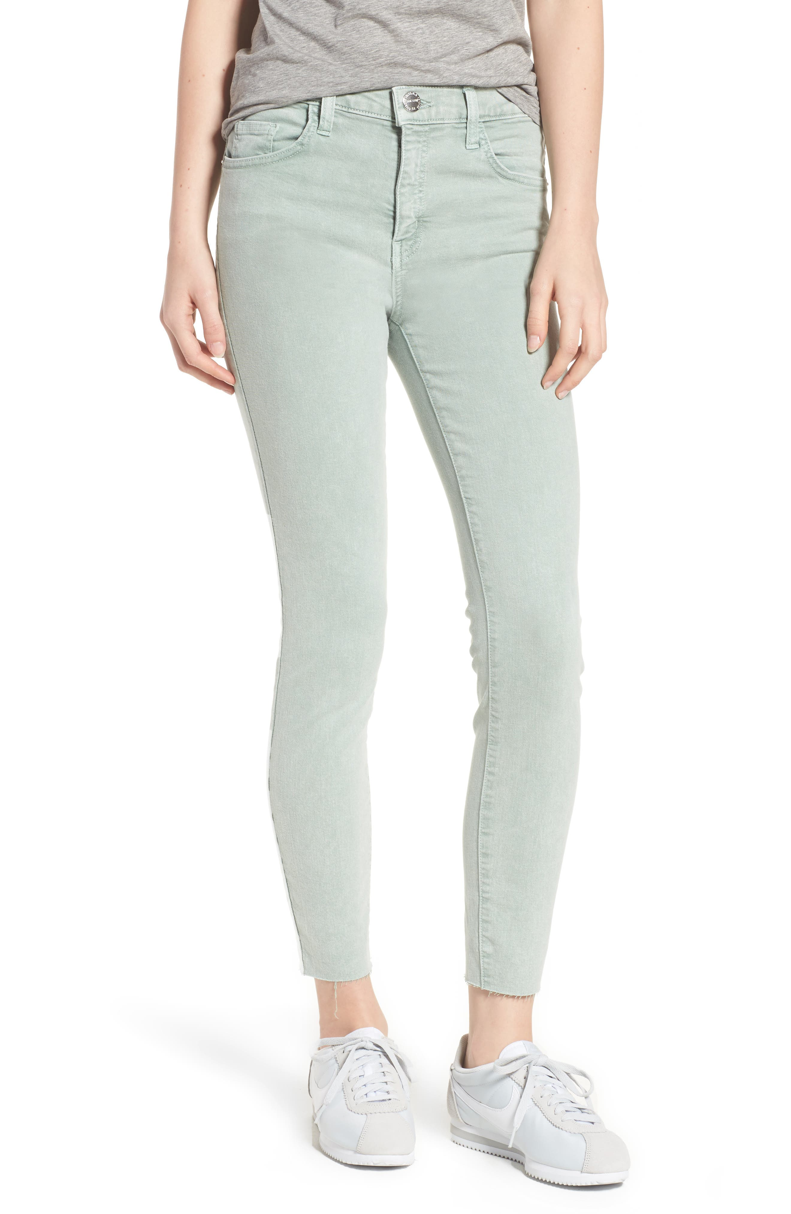 The High Waist Ankle Skinny Jeans,                         Main,                         color, Iceberg Green