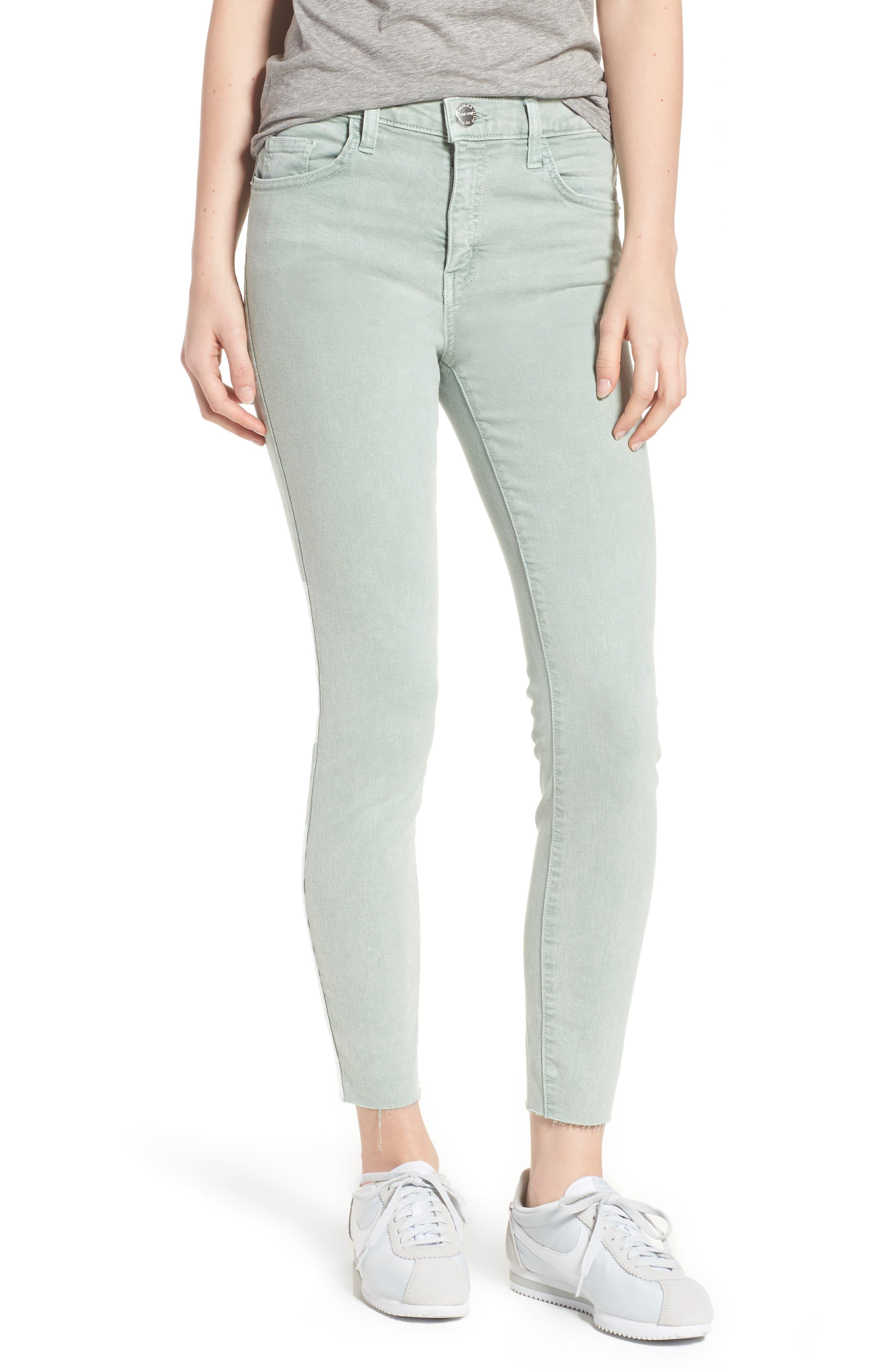 Current/Elliott The High Waist Ankle Skinny Jeans (Iceberg Green)