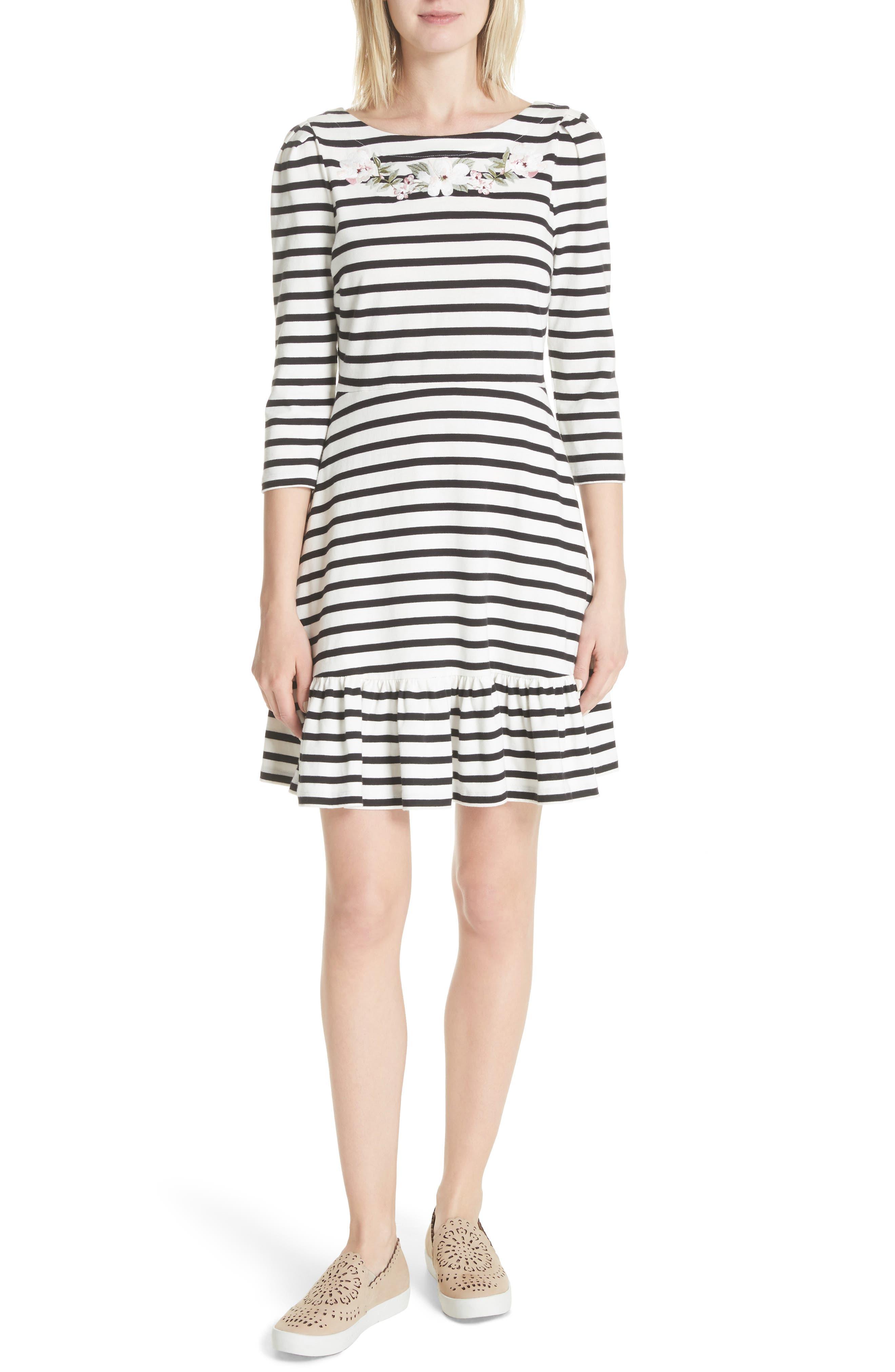 stripe fit & flare dress,                             Main thumbnail 1, color,                             Off-White/ Black