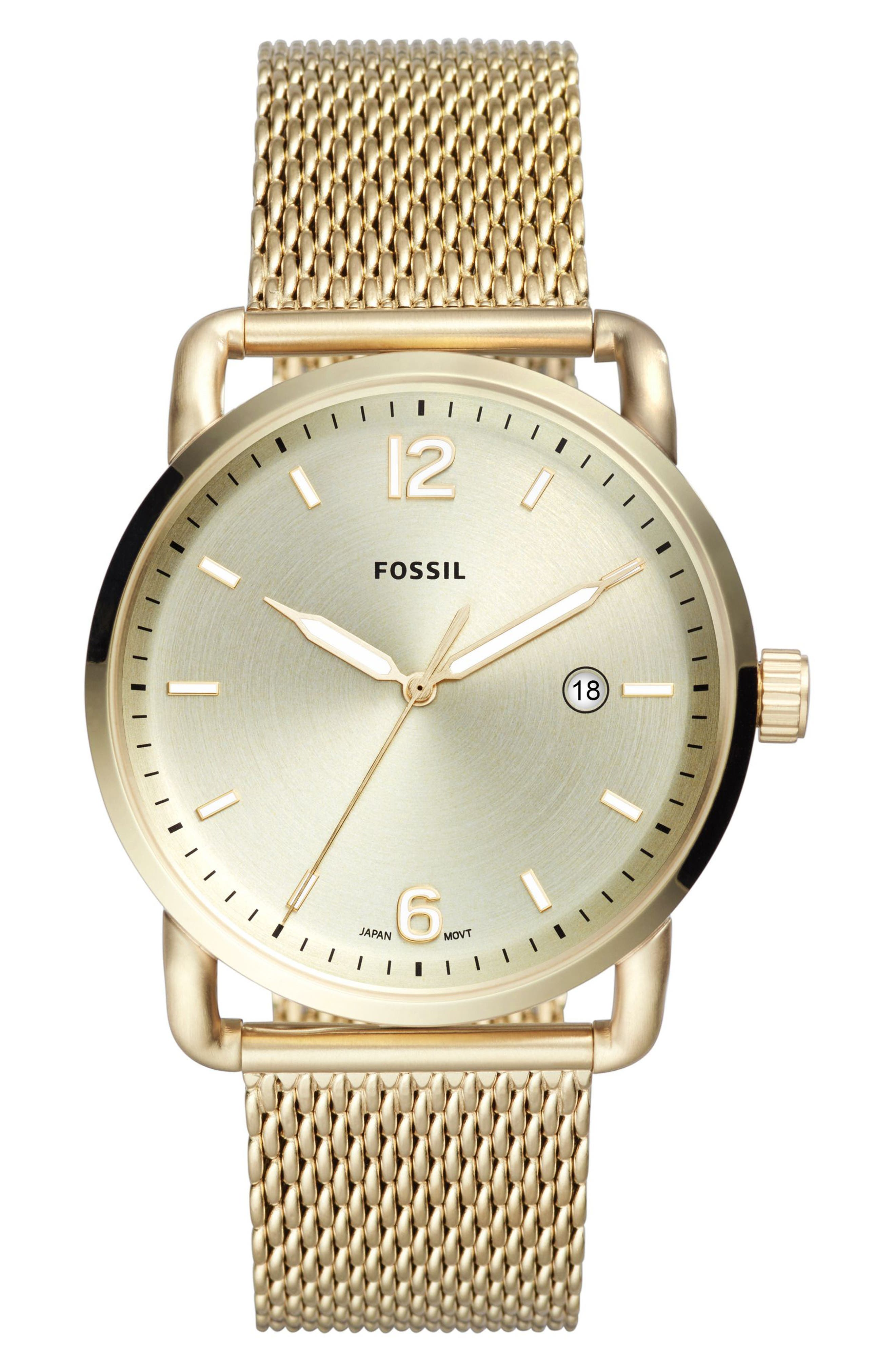 The Commuter Mesh Strap Watch, 42mm,                         Main,                         color, Gold