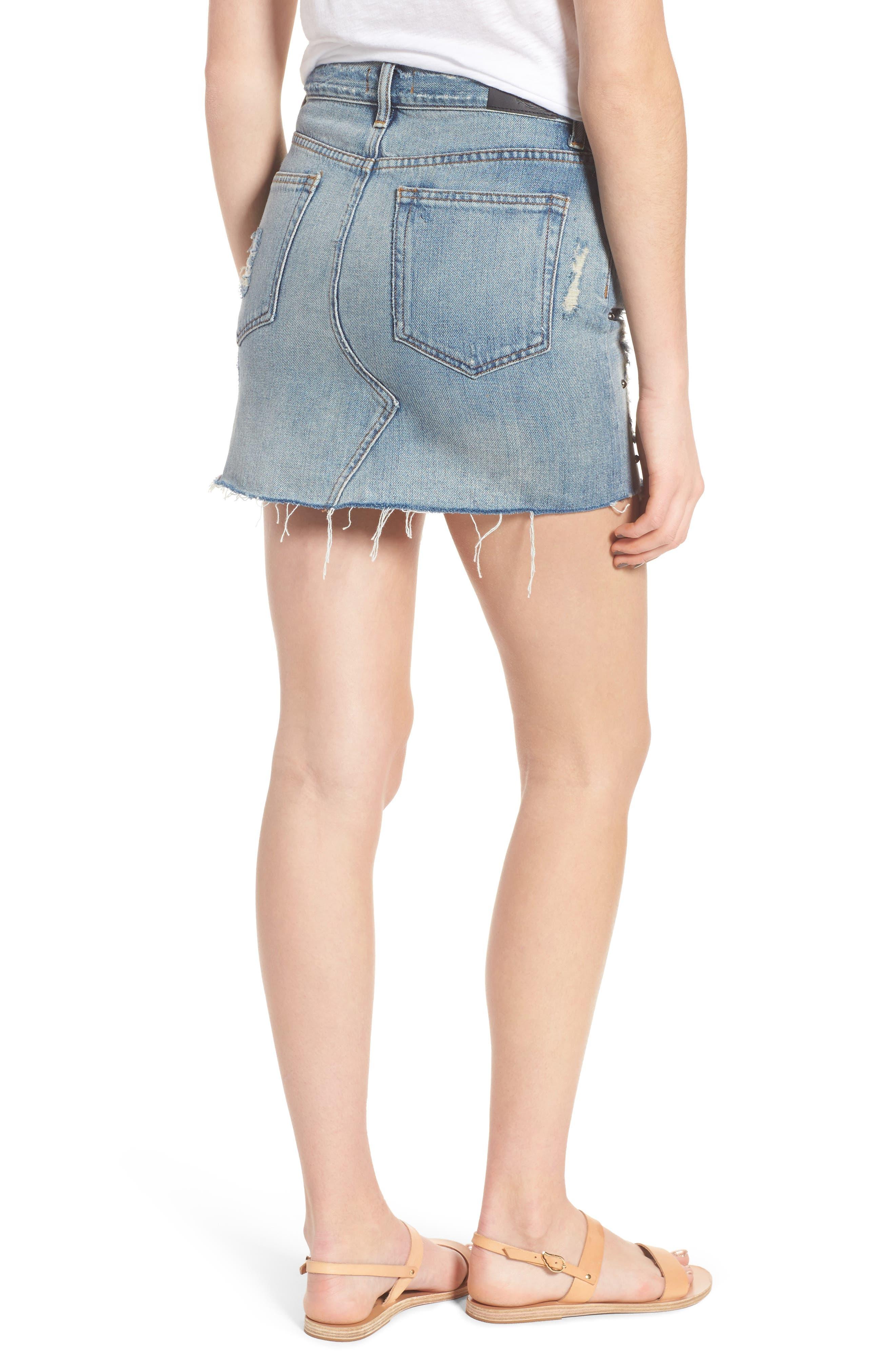 Wynonna Studded Cutoff Denim Miniskirt,                             Alternate thumbnail 2, color,                             Med Vintage All Over Studded