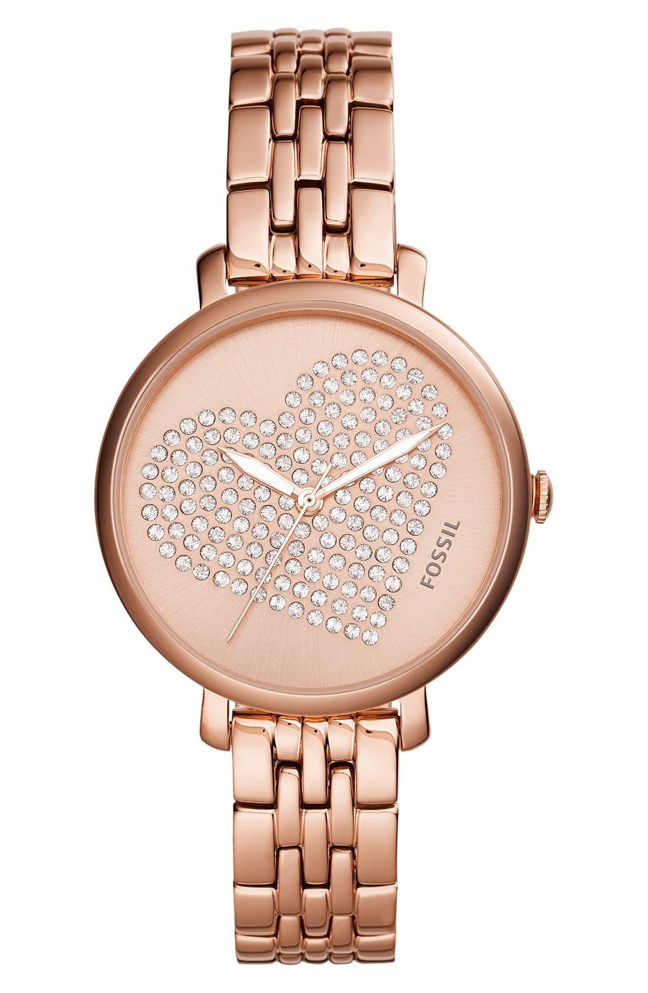 Main Image - Fossil Jacqueline Crystal Heart Bracelet Watch, 36mm