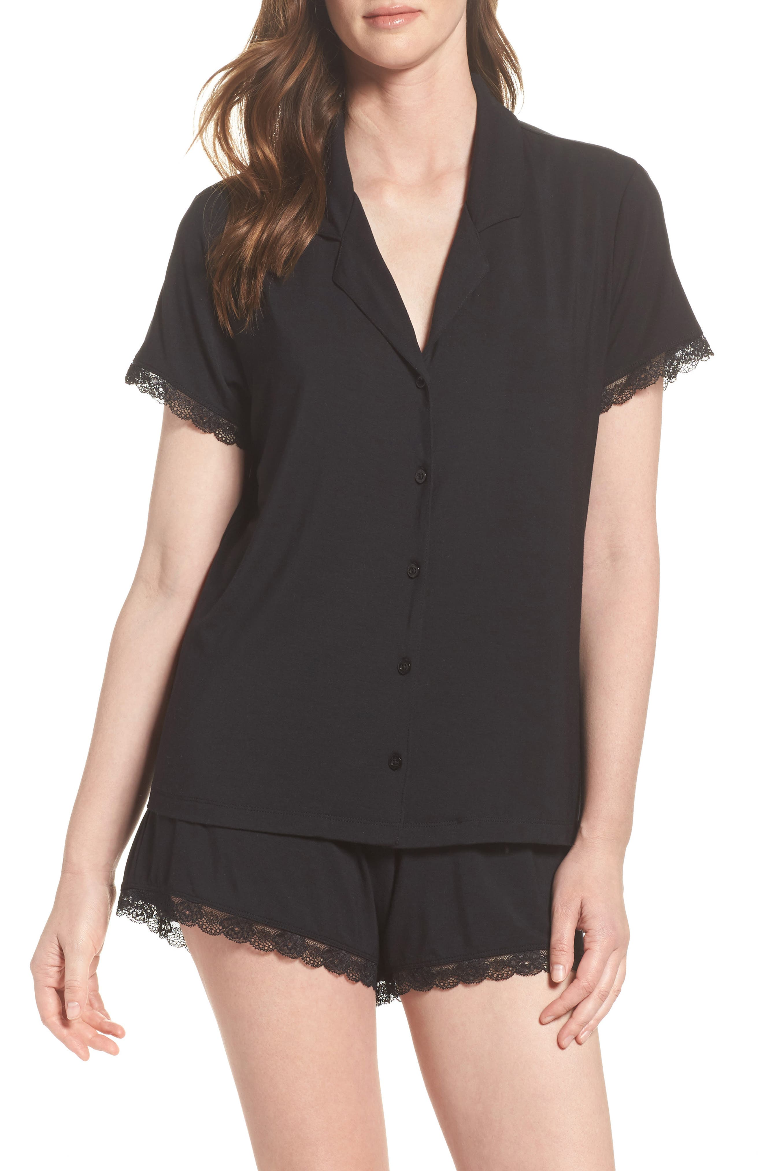 Moonlight Short Pajamas,                             Main thumbnail 1, color,                             Black