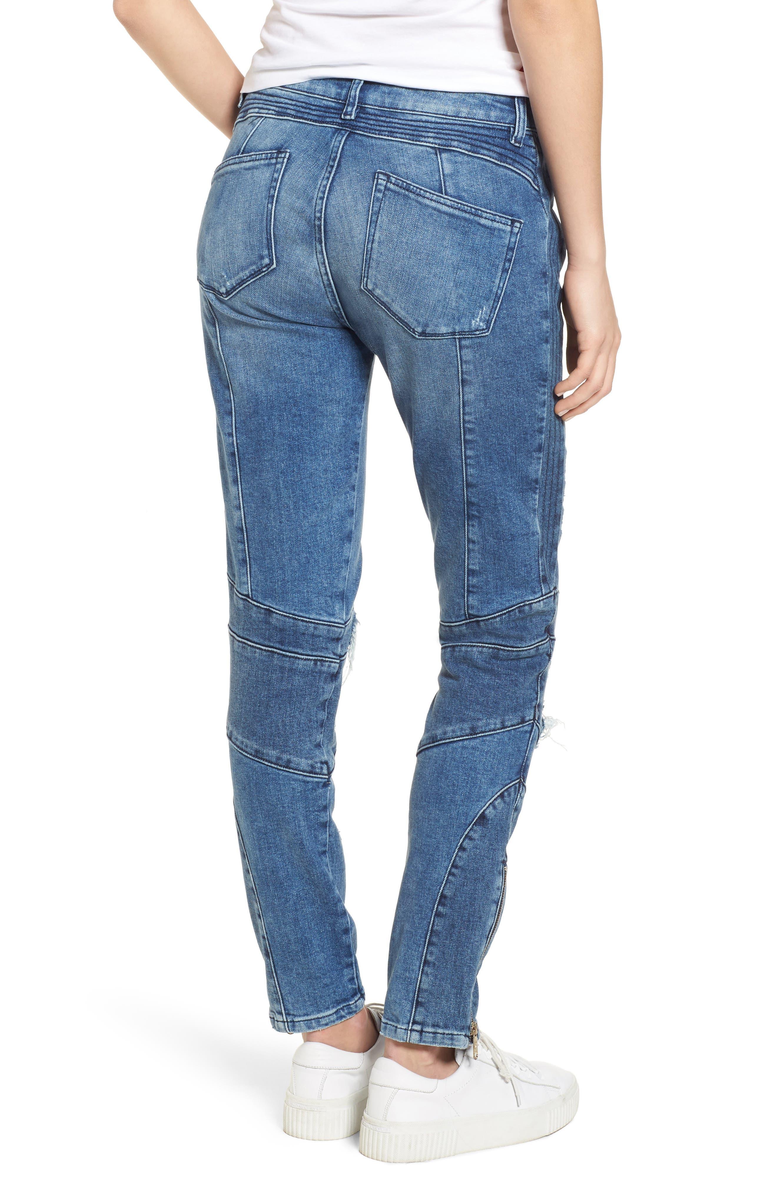 x Gigi Hadid Speed Distressed Ankle Zip Jeans,                             Alternate thumbnail 3, color,                             Mid Blue