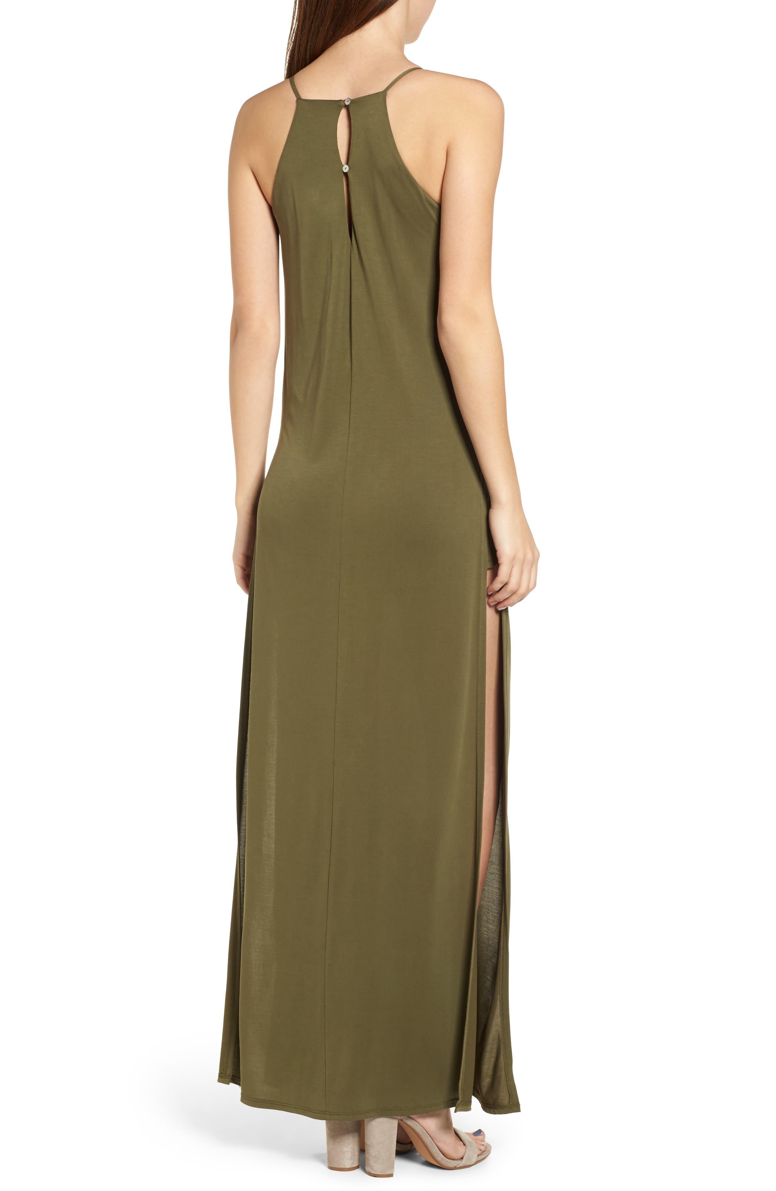 High Slit Maxi Dress,                             Alternate thumbnail 2, color,                             Olive Sarma
