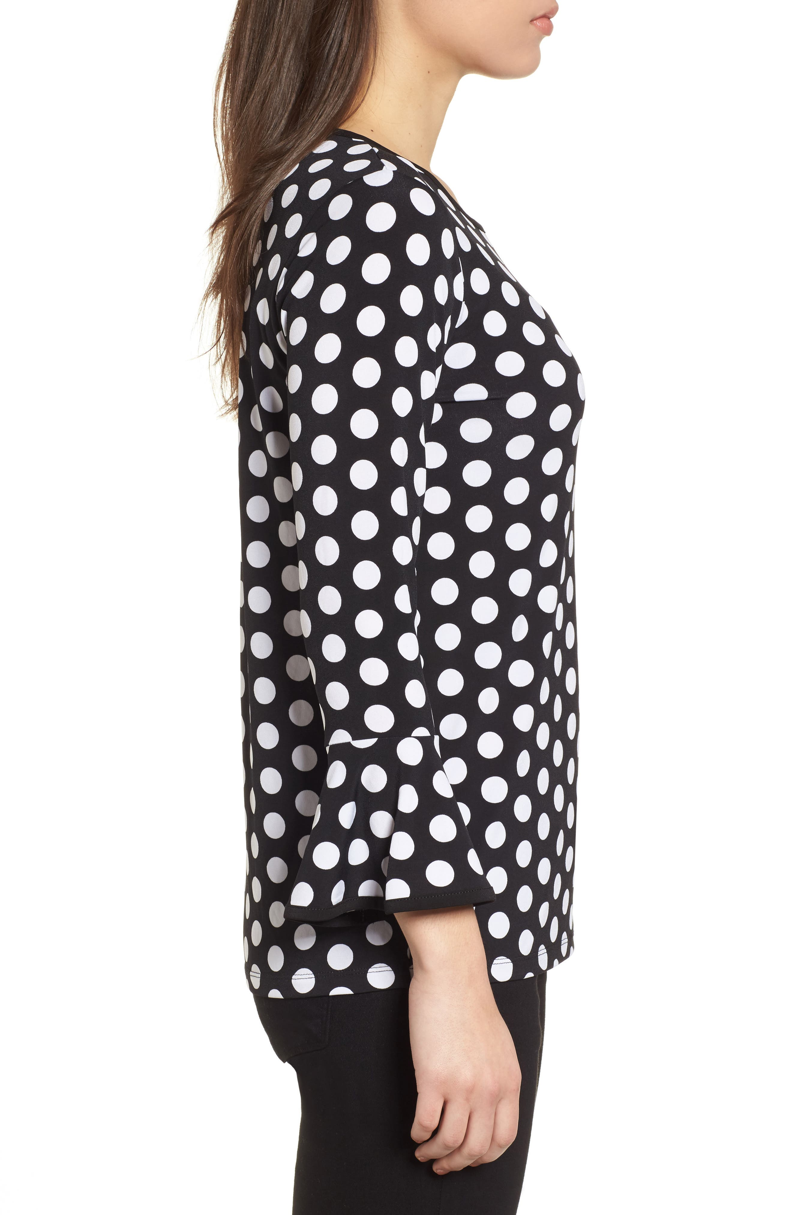 Simple Dots Flare Sleeve Top,                             Alternate thumbnail 3, color,                             Black/ White