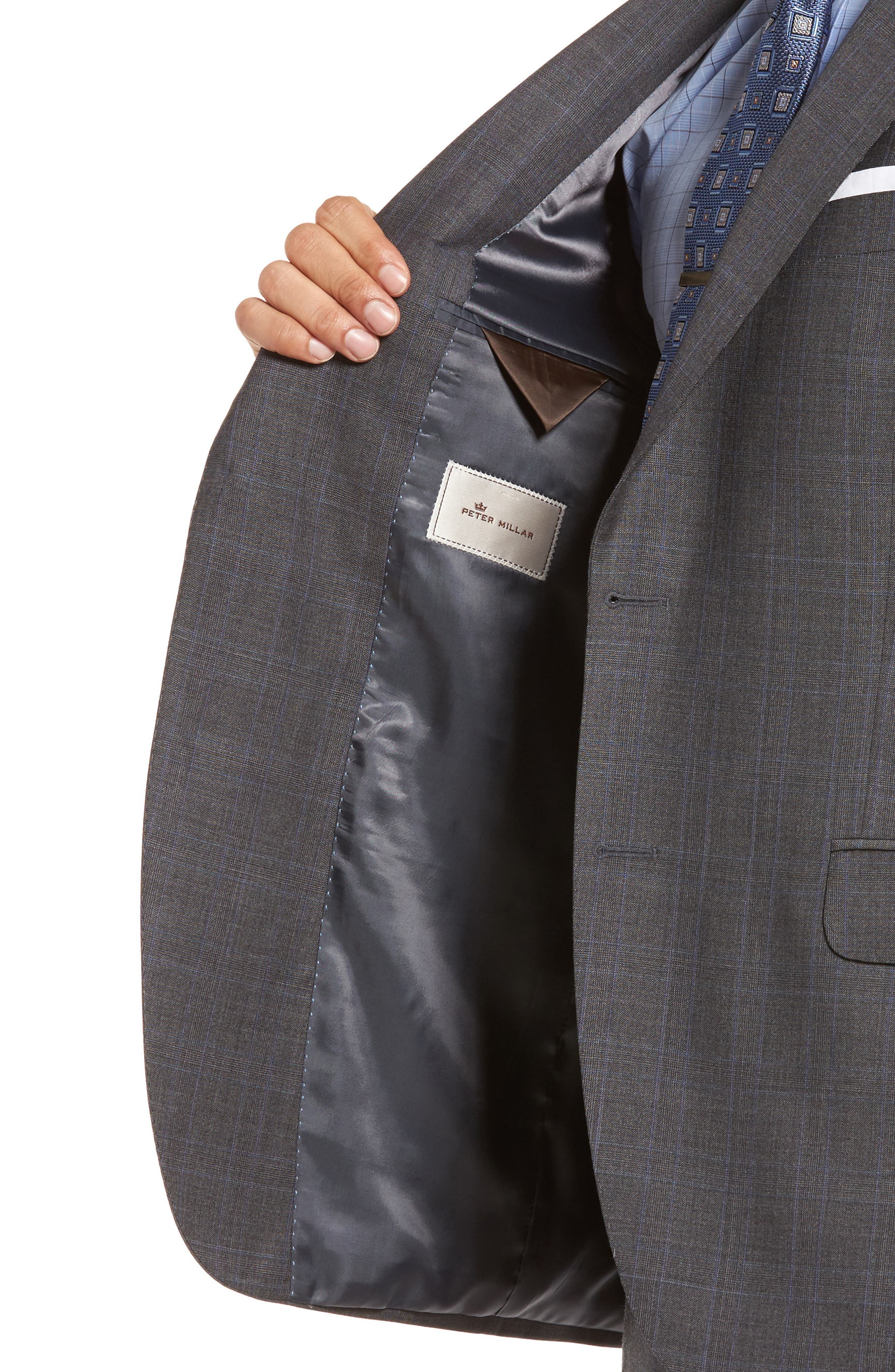 Classic Fit Windowpane Wool Suit,                             Alternate thumbnail 4, color,                             Grey