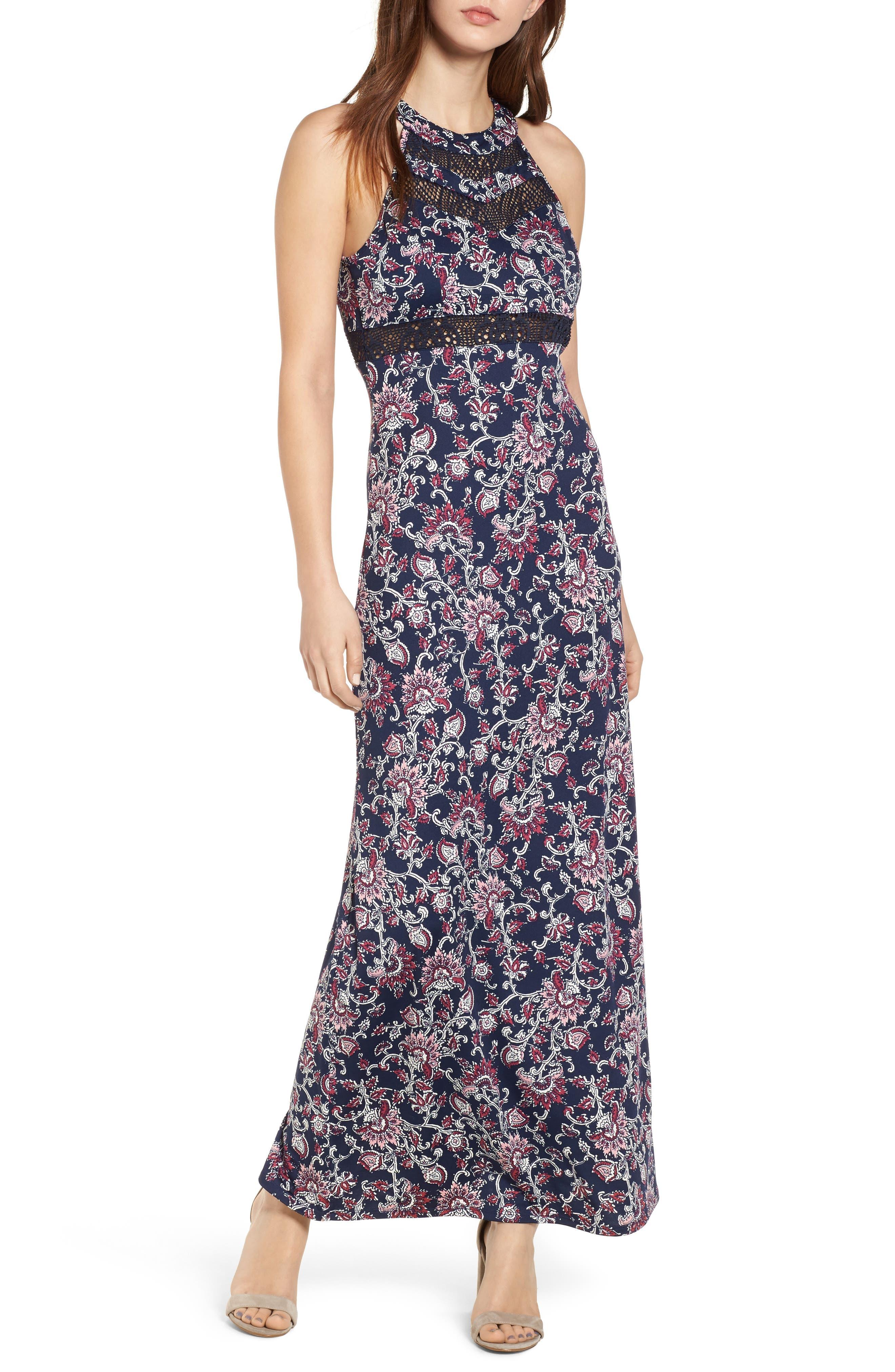Love, Nickie Lew Crochet Trim Maxi Dress