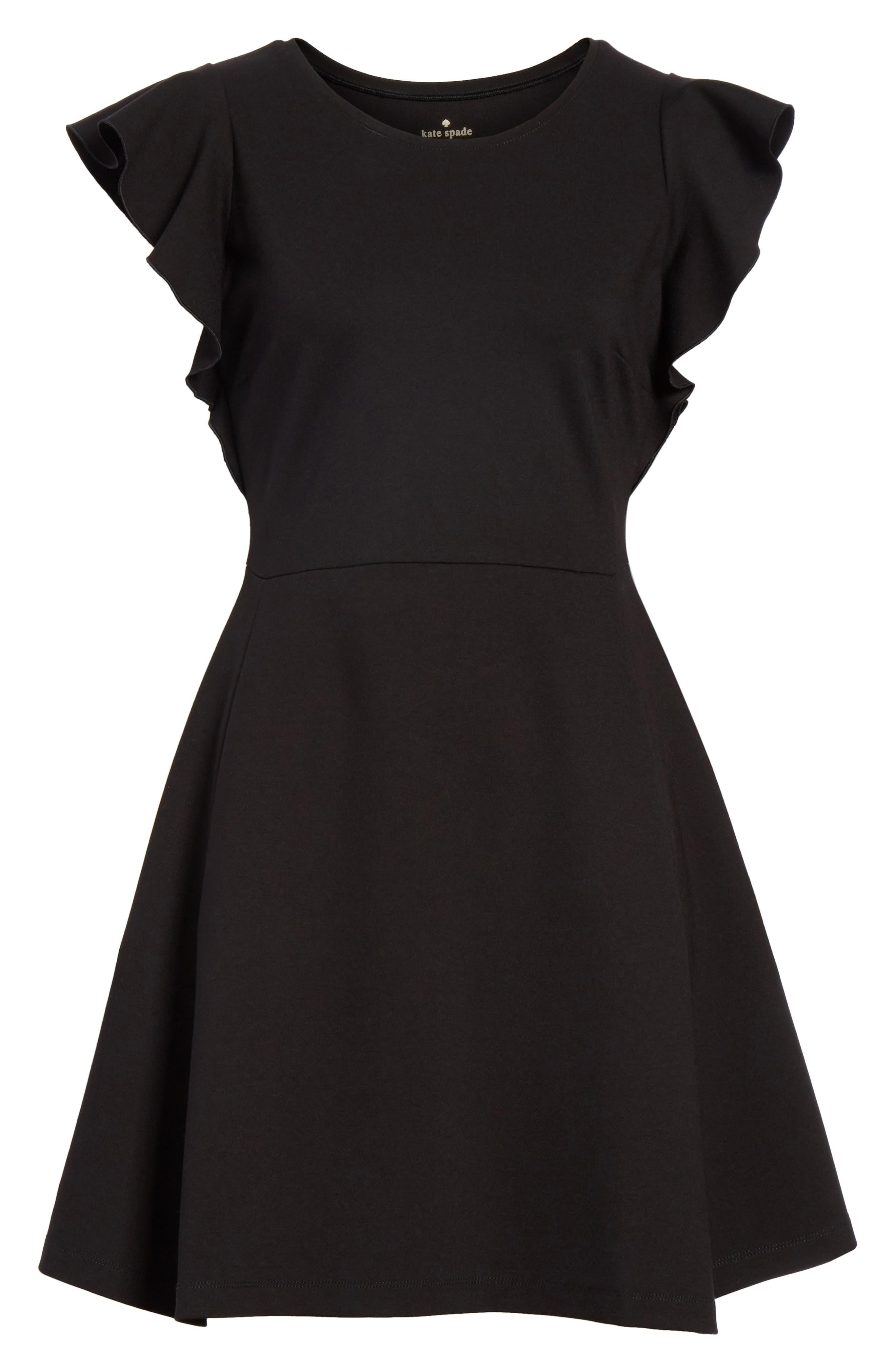 fluttter sleeve ponte knit dress,                             Alternate thumbnail 6, color,                             Black