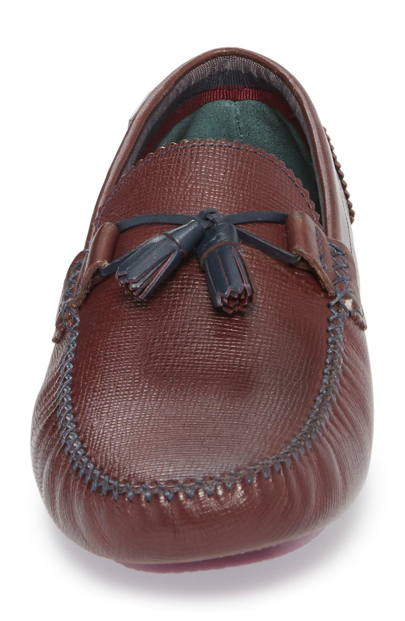 Urbonn Tasseled Driving Loafer,                             Alternate thumbnail 4, color,                             Dark Red Leather