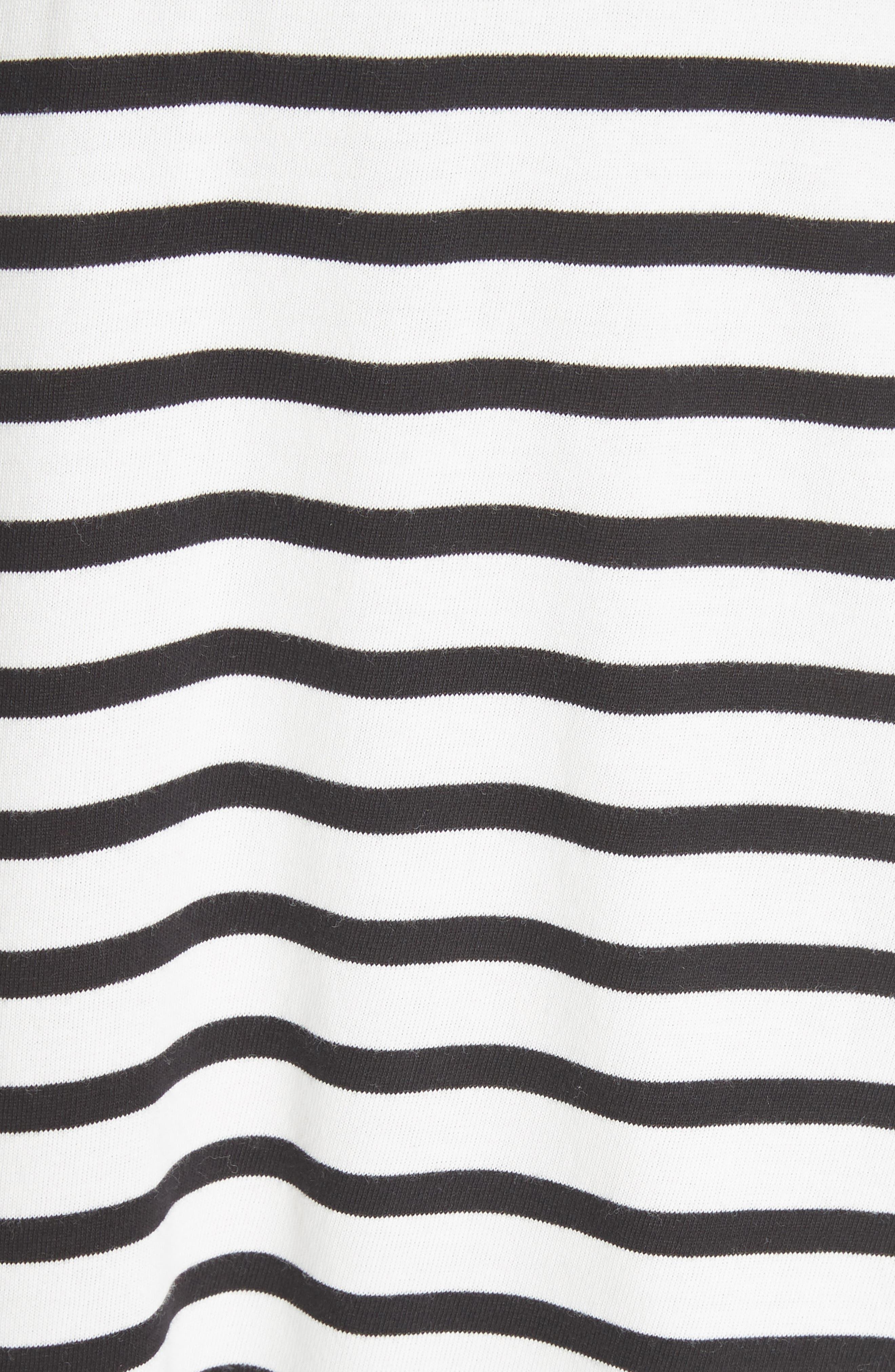 stripe fit & flare dress,                             Alternate thumbnail 5, color,                             Off-White/ Black