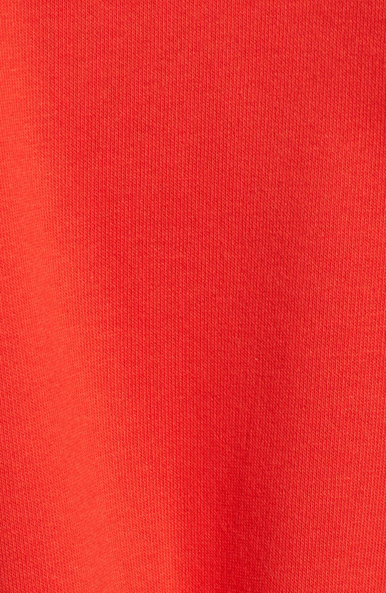 x Gigi Hadid Sweatshirt Dress,                             Alternate thumbnail 5, color,                             Flame Scarlet