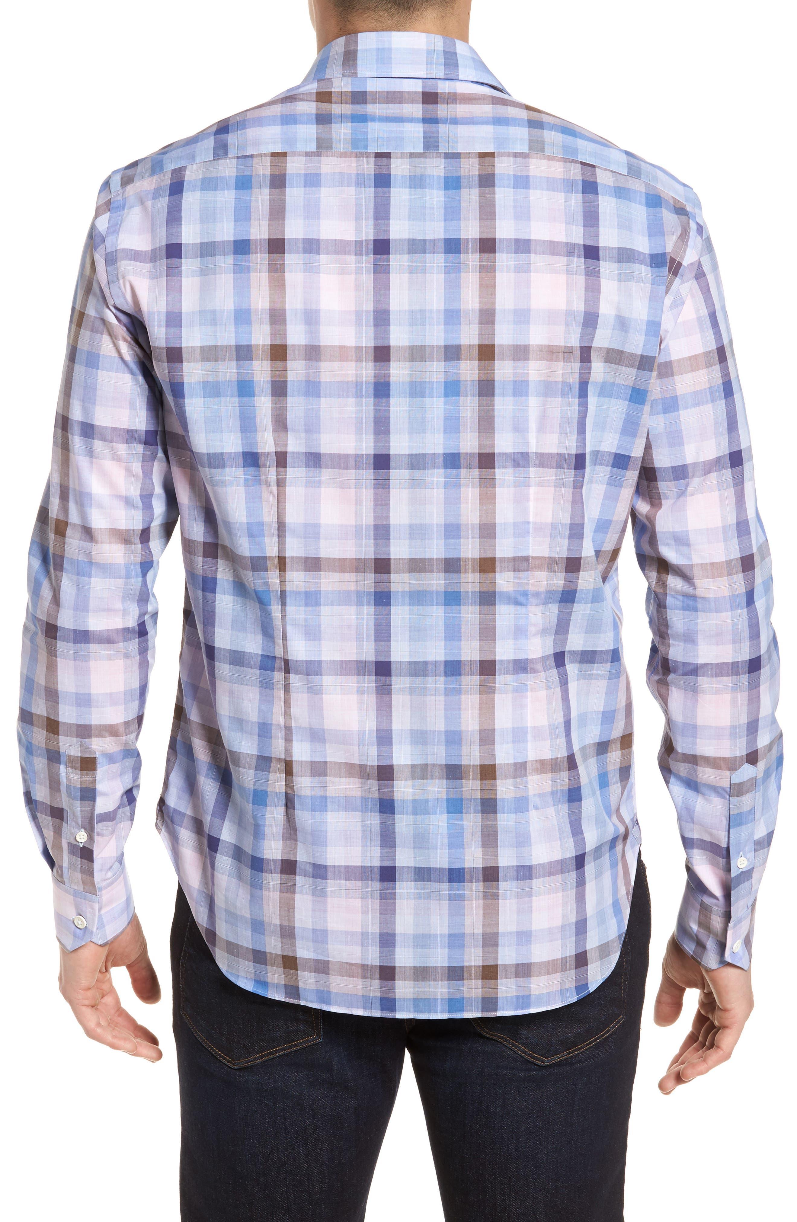 Tailored Fit Plaid Sport Shirt,                             Alternate thumbnail 2, color,                             Pink
