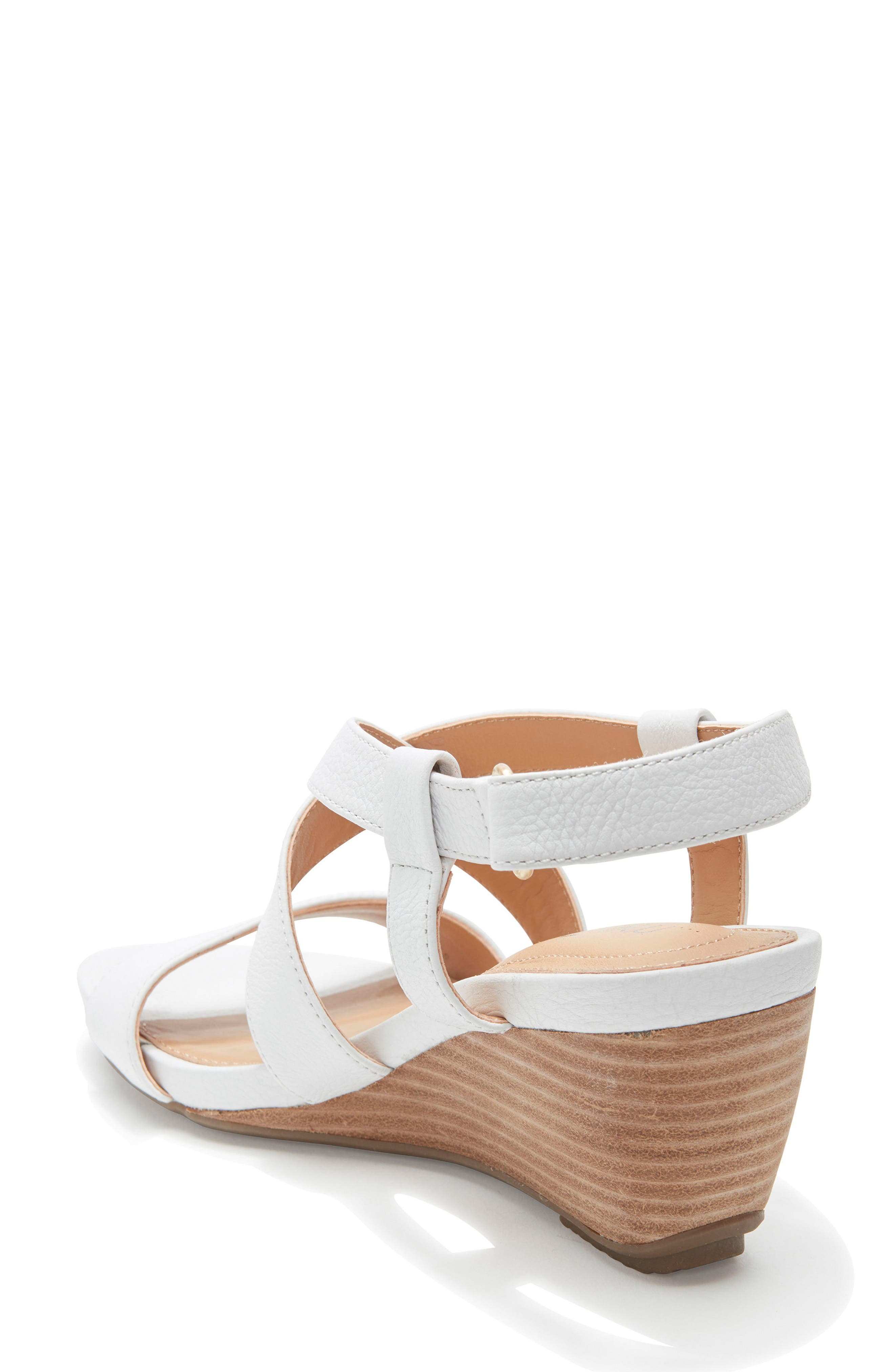 Payton Strappy Wedge,                             Alternate thumbnail 2, color,                             White Leather