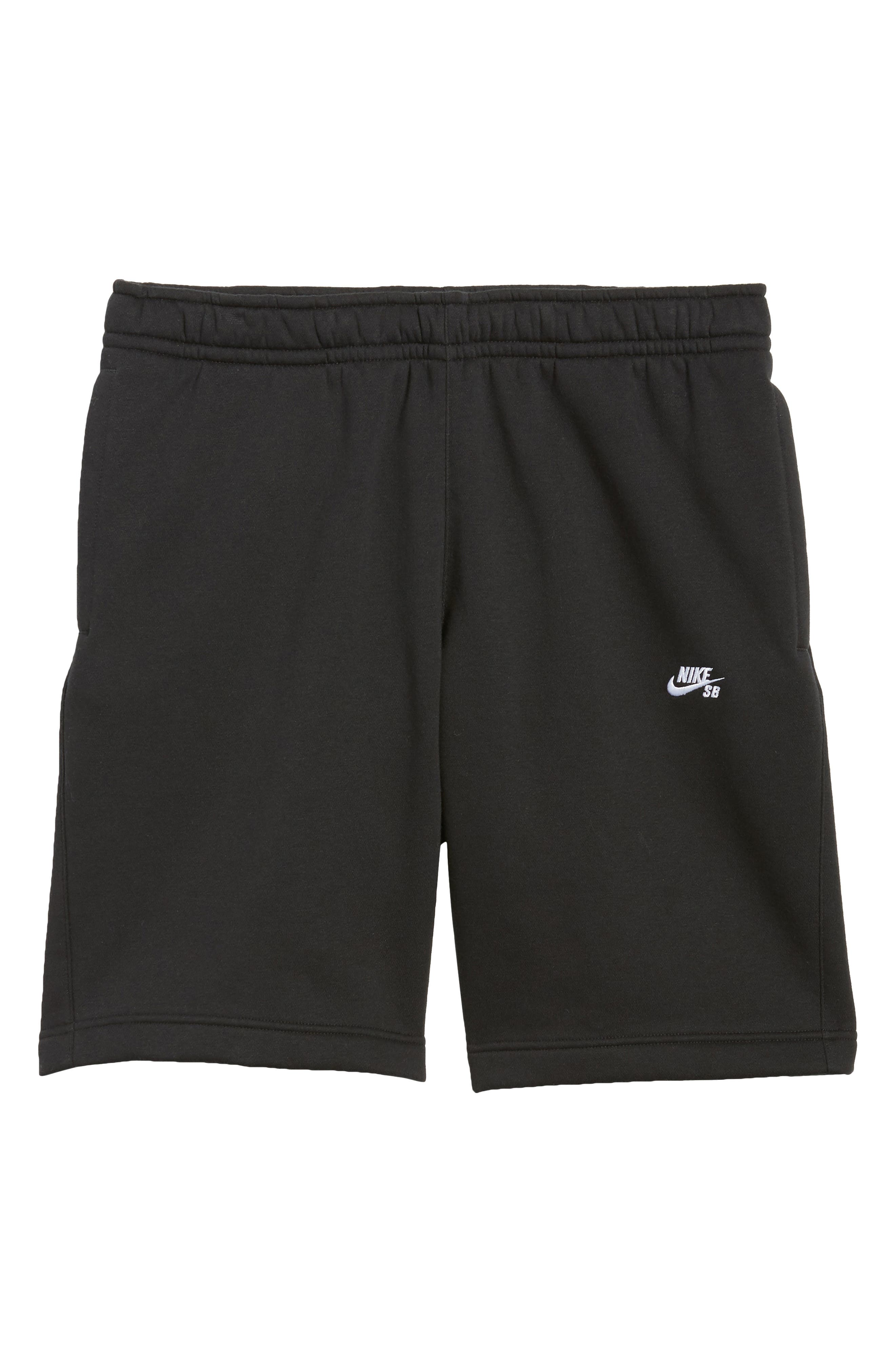 Fleece Shorts,                             Alternate thumbnail 6, color,                             Black/ White