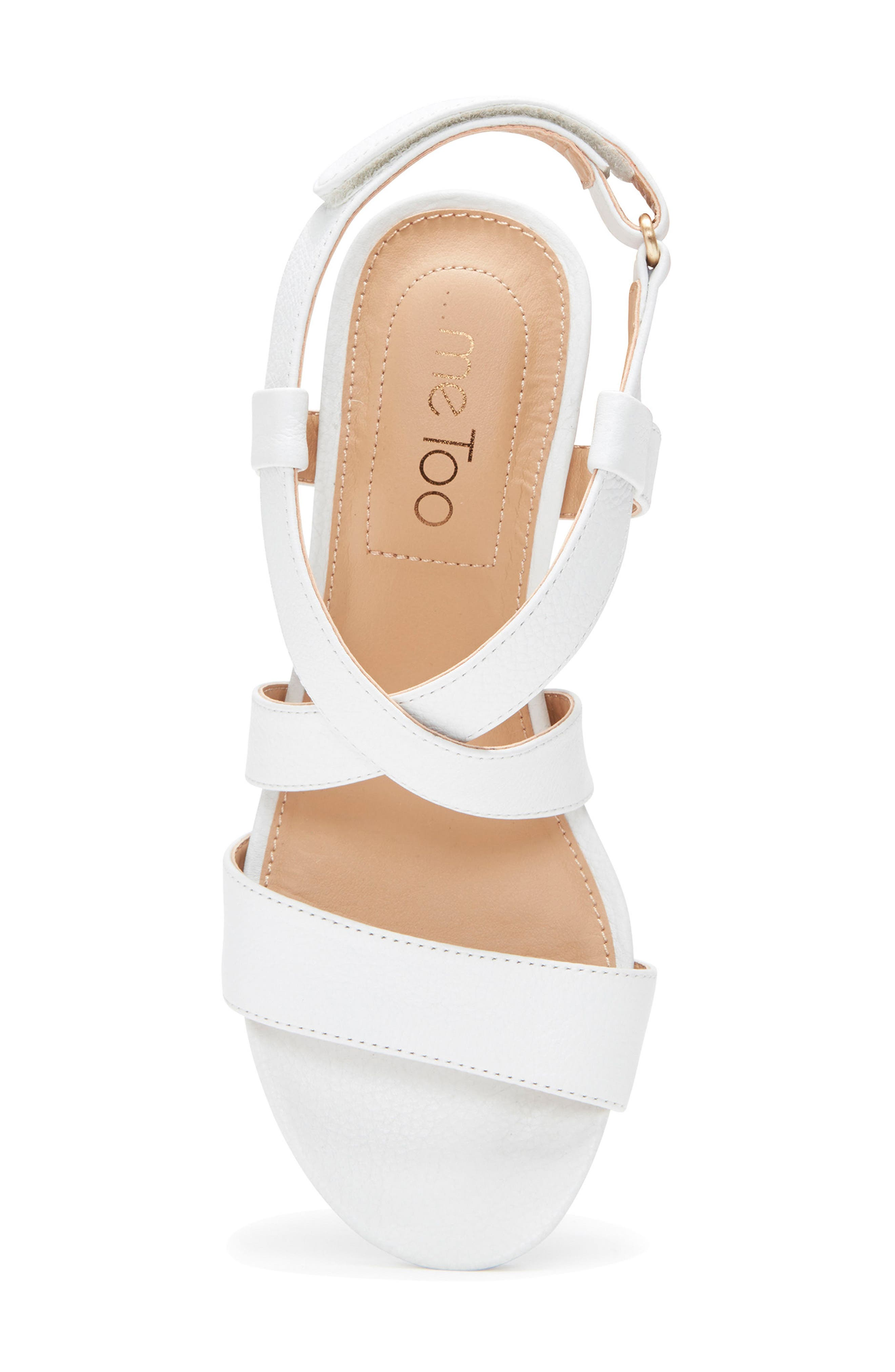 Payton Strappy Wedge,                             Alternate thumbnail 4, color,                             White Leather