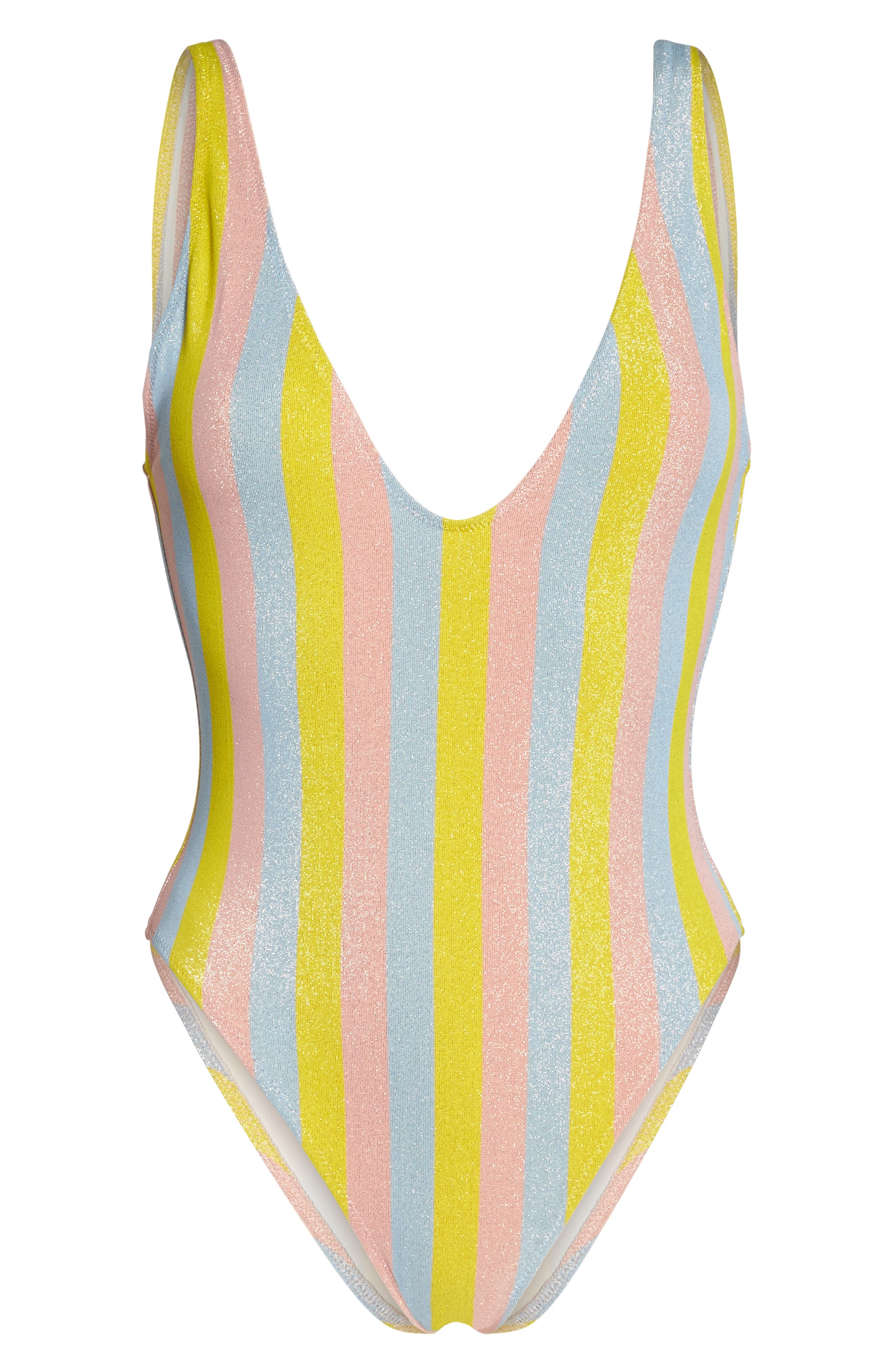 The Michelle One-Piece Swimsuit,                             Alternate thumbnail 6, color,                             Yellow/ Blue/ Pink
