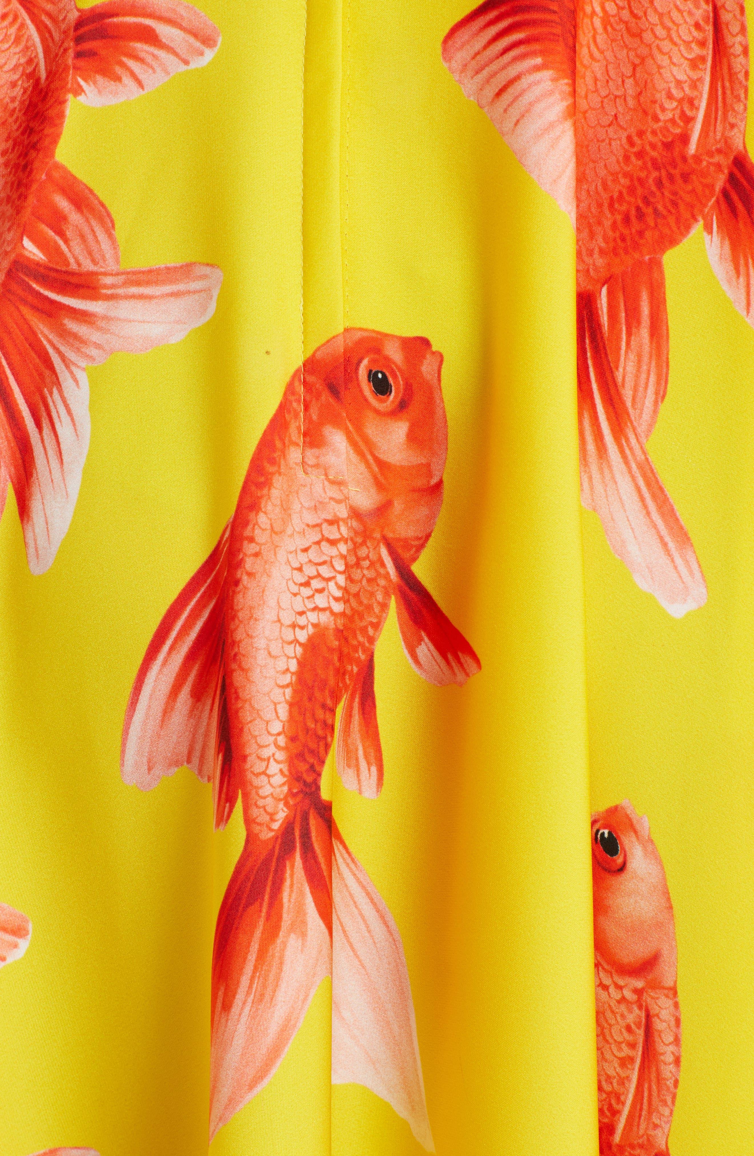 Goldfish Print Silk Blend Charmeuse Dress,                             Alternate thumbnail 6, color,                             Pesci