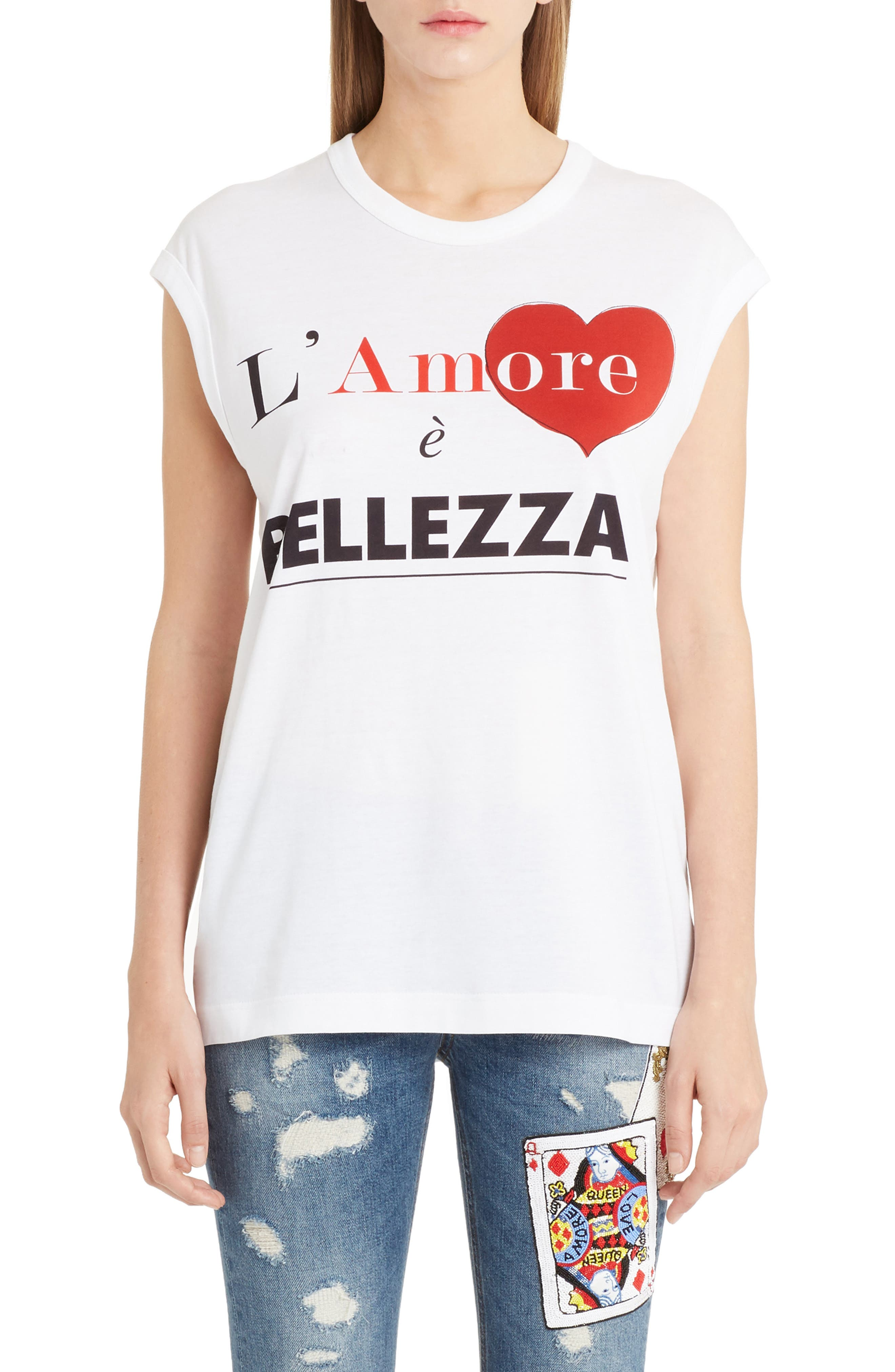 Amore Graphic Tank Top,                             Main thumbnail 1, color,                             White
