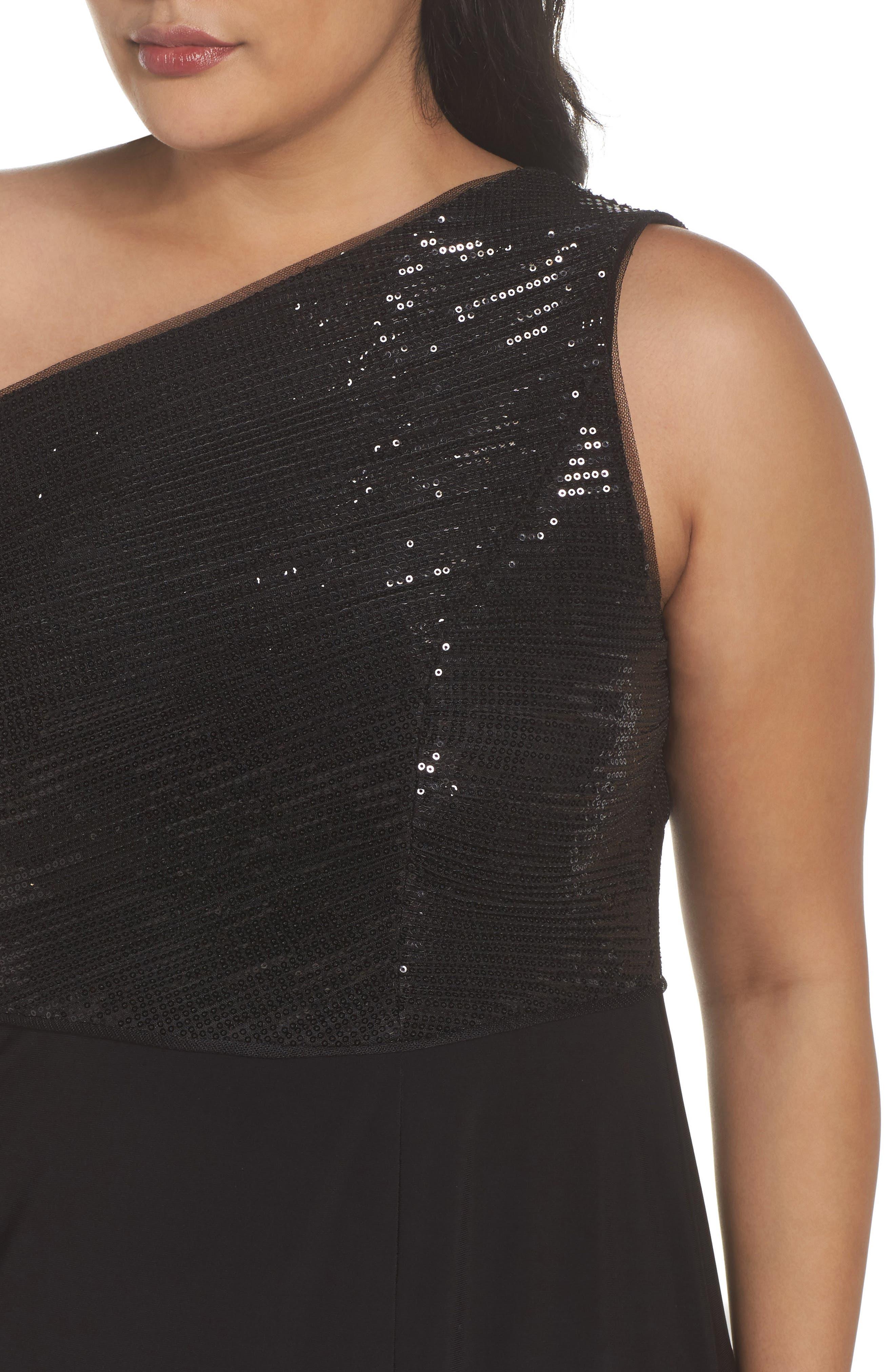 Sequin & Jersey One-Shoulder Gown,                             Alternate thumbnail 4, color,                             Black
