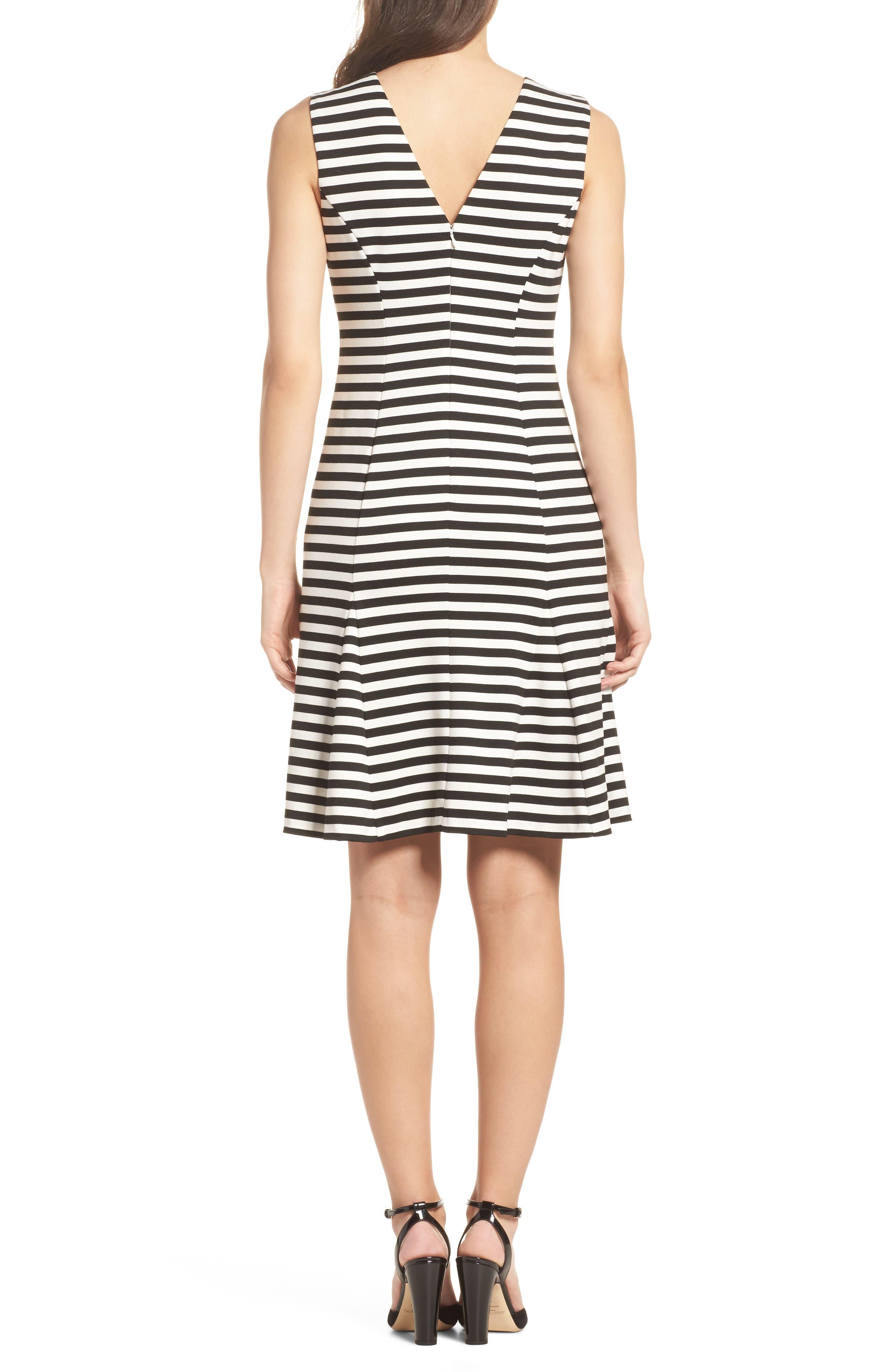 Stripe Scuba Crepe Fit & Flare Dress,                             Alternate thumbnail 2, color,                             Black/ Ivory